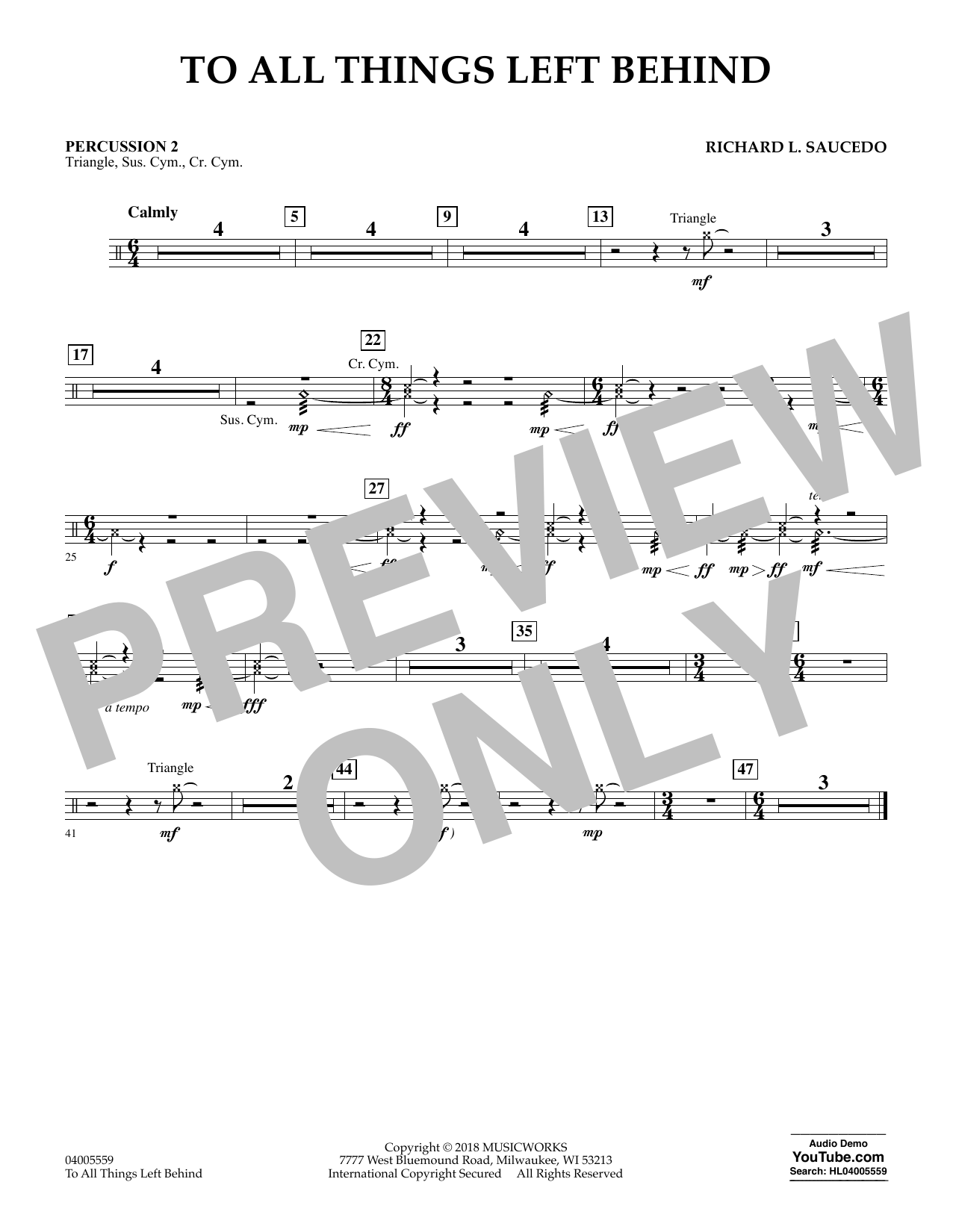 To All Things Left Behind - Percussion 2 (Concert Band)