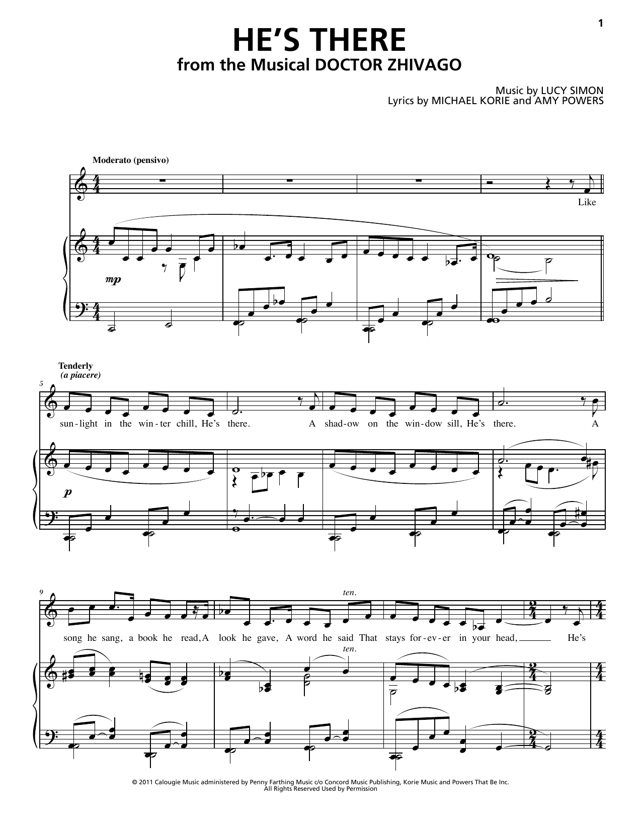 He's There (from Doctor Zhivago: The Broadway Musical) Sheet Music