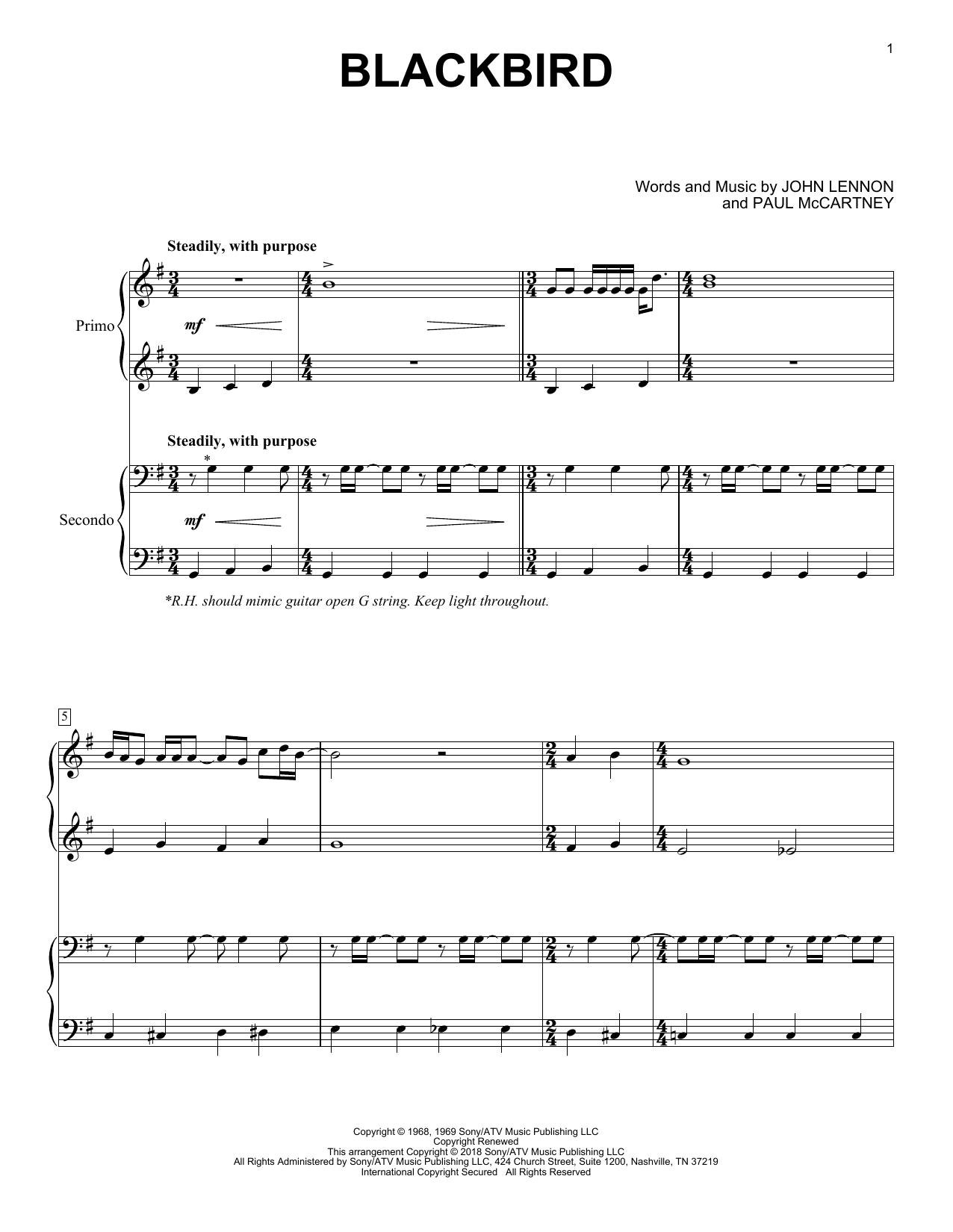 Blackbird (Piano Duet)