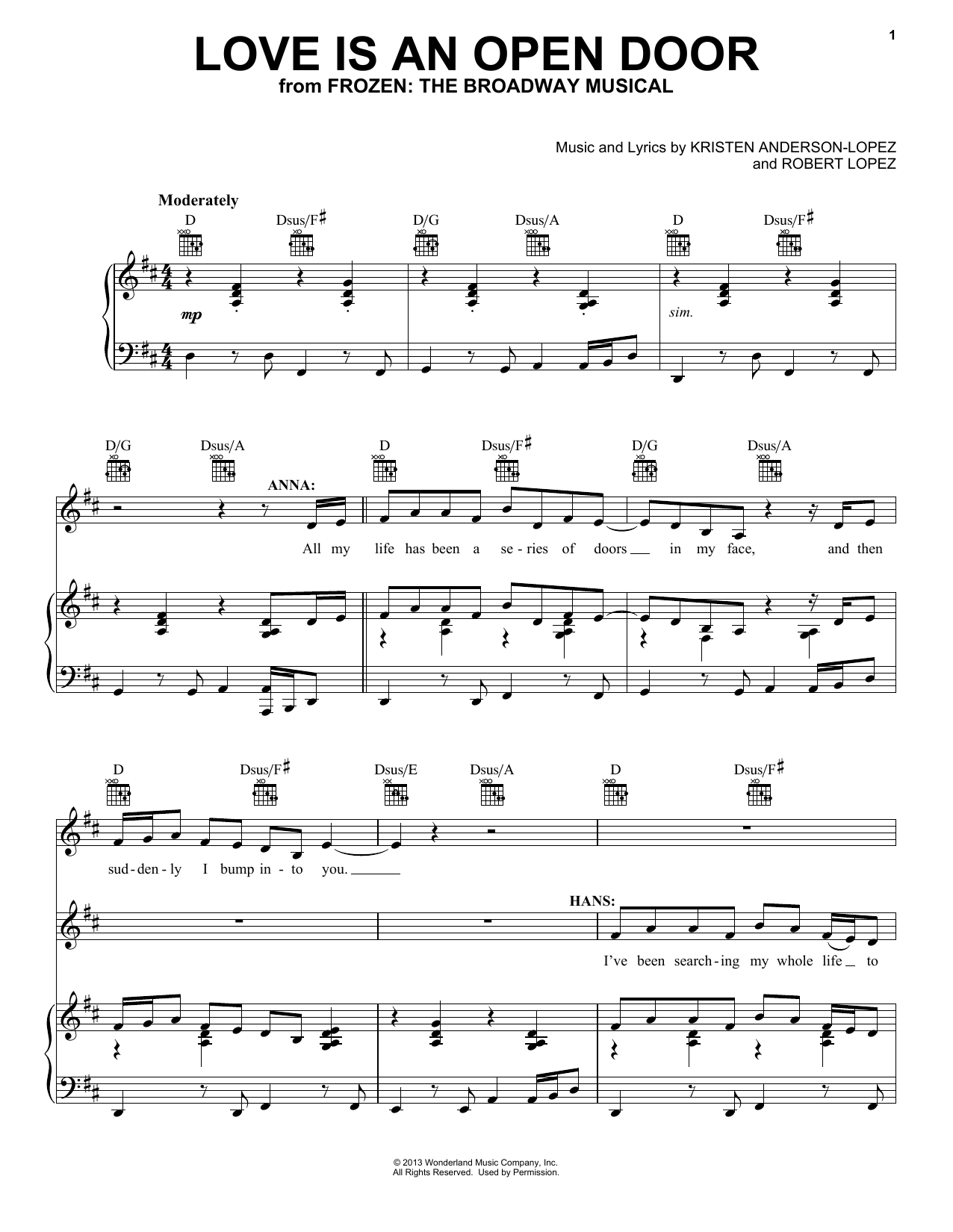 Love Is An Open Door (from Frozen) (Piano, Vocal & Guitar (Right-Hand Melody))