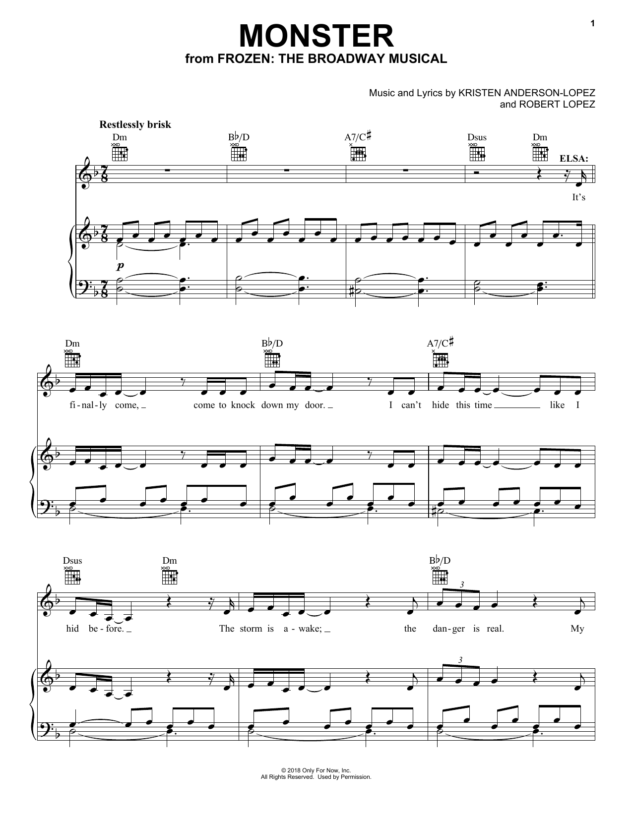 Monster (Piano, Vocal & Guitar (Right-Hand Melody))