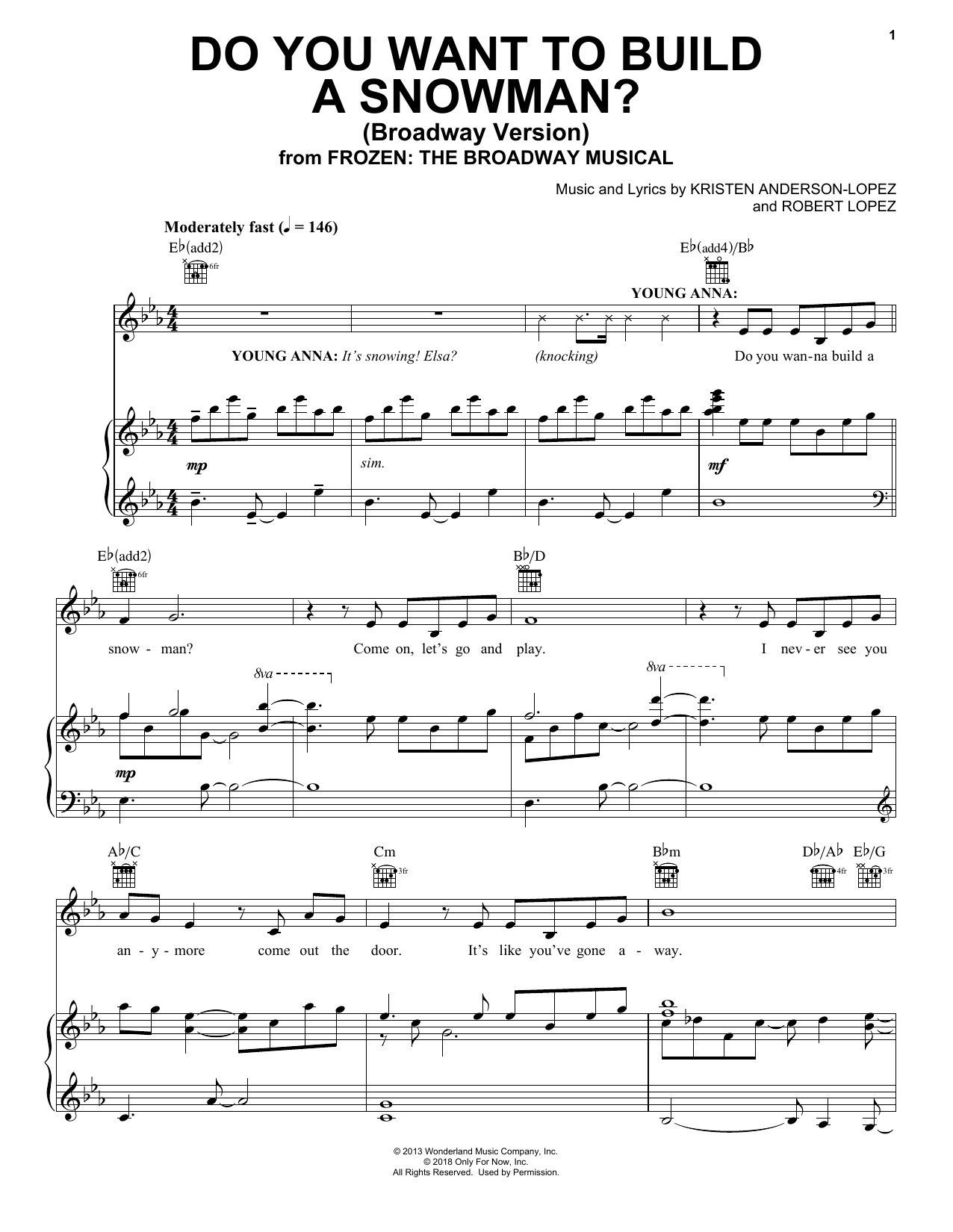 Do You Want To Build A Snowman? (from Frozen: The Broadway Musical) (Piano, Vocal & Guitar (Right-Hand Melody))