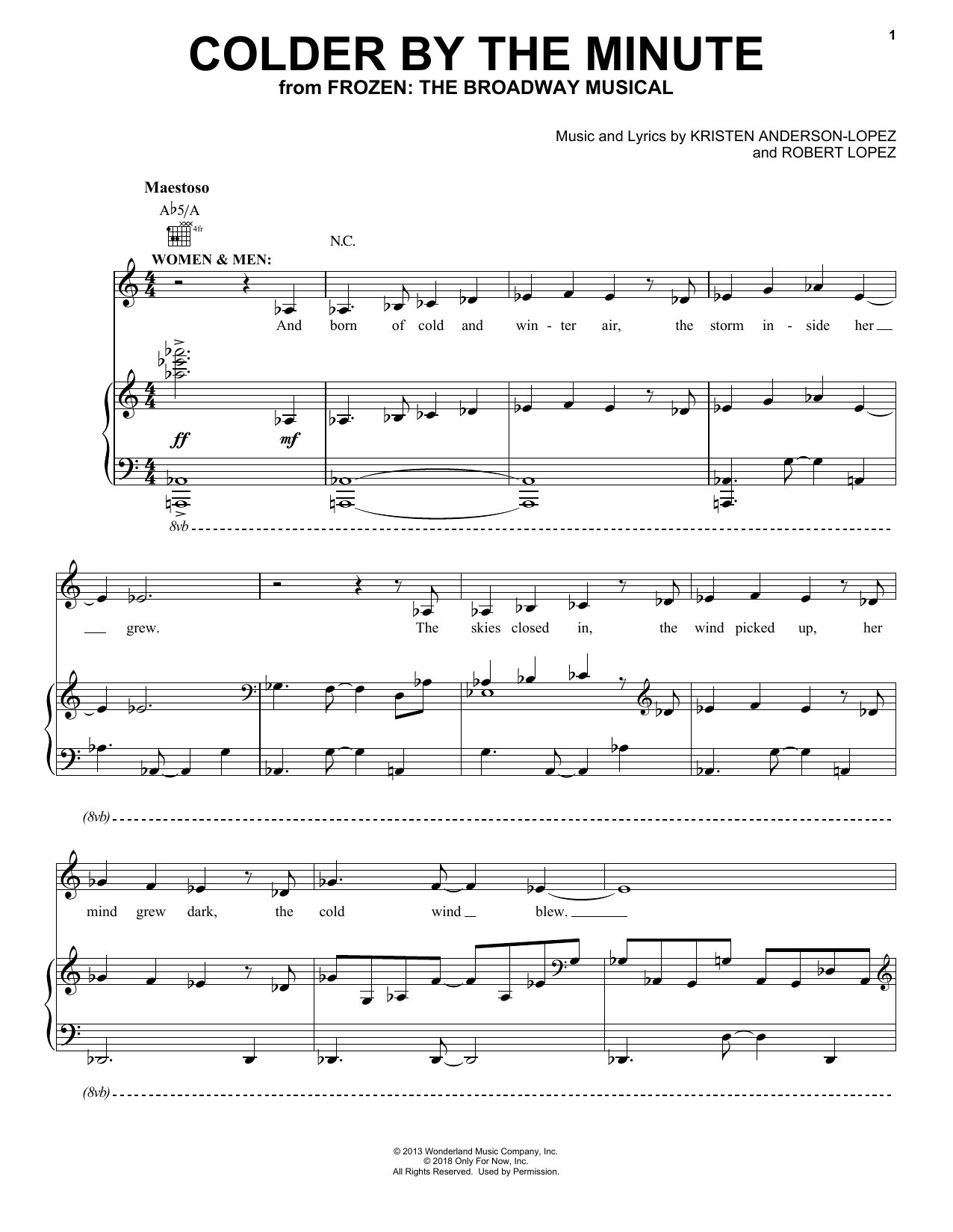Colder By The Minute (from Frozen: The Broadway Musical) (Piano, Vocal & Guitar (Right-Hand Melody))
