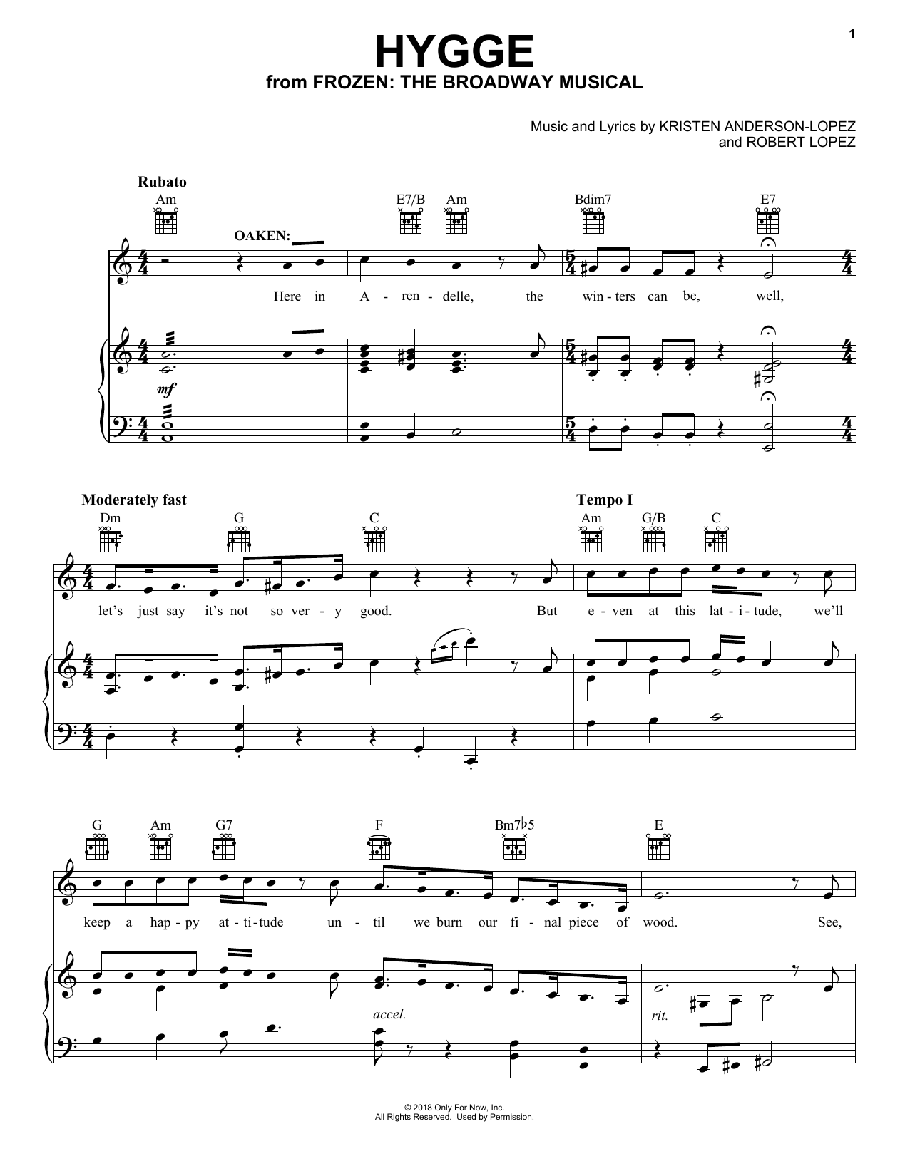 Hygge (from Frozen: The Broadway Musical) (Piano, Vocal & Guitar (Right-Hand Melody))