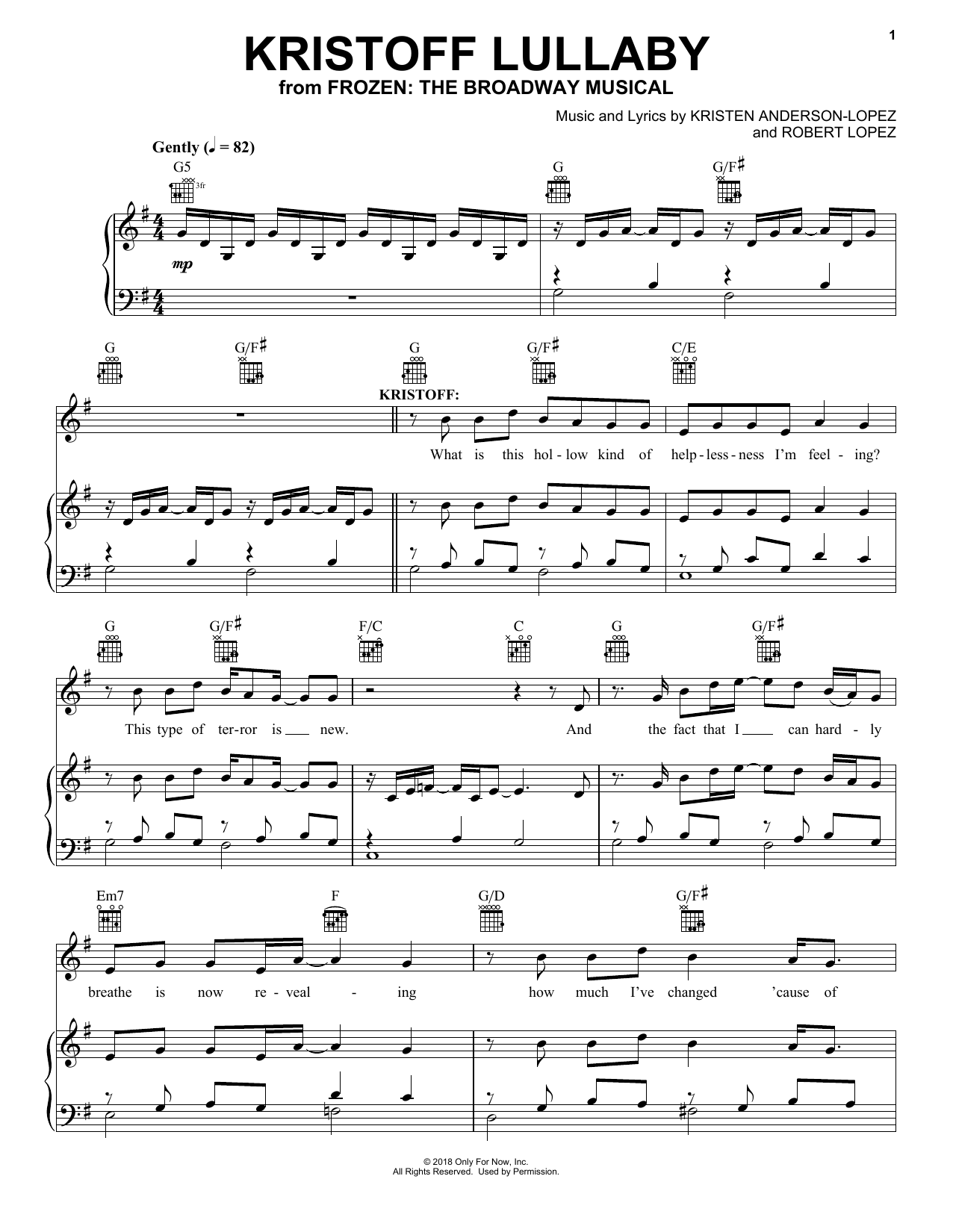 Kristoff Lullaby (from Frozen: The Broadway Musical) (Piano, Vocal & Guitar (Right-Hand Melody))