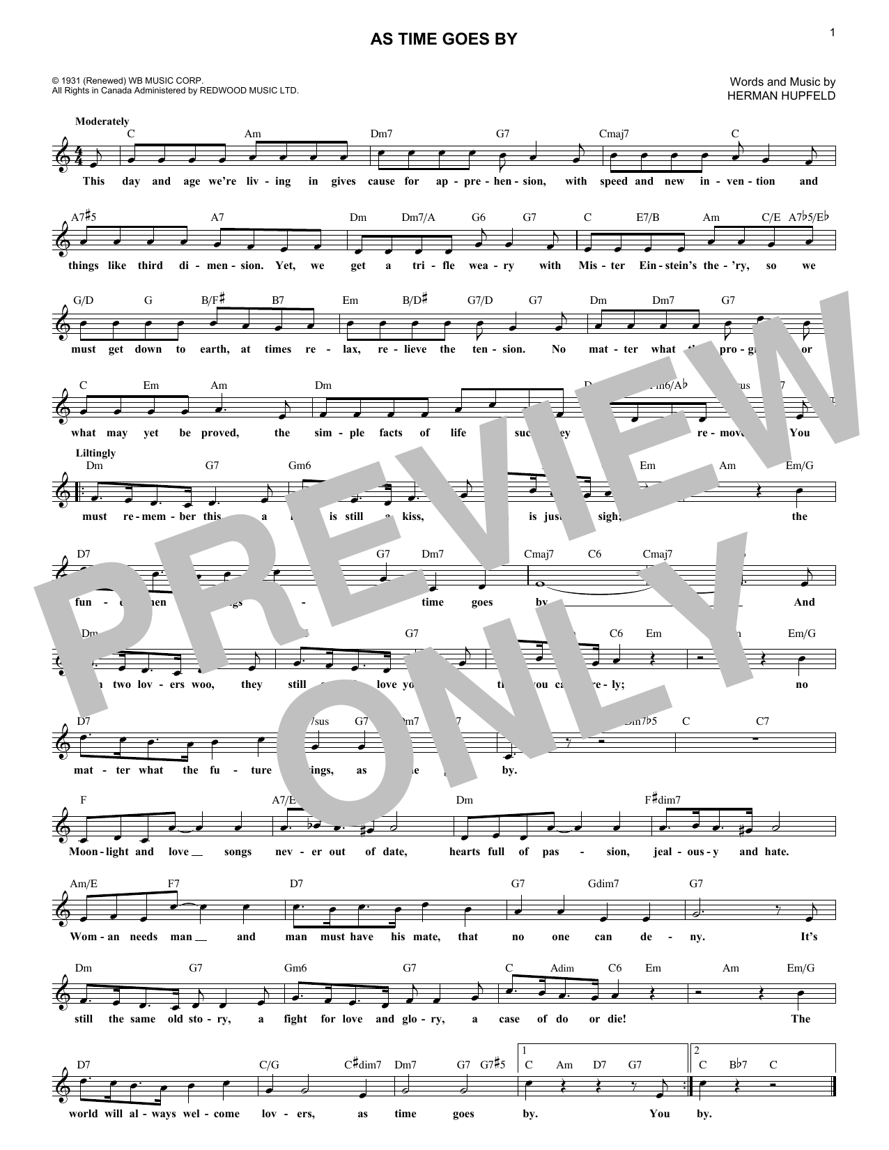 As Time Goes By (Lead Sheet / Fake Book)