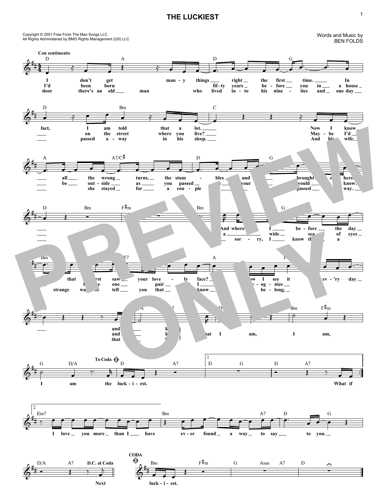 The Luckiest (Lead Sheet / Fake Book)