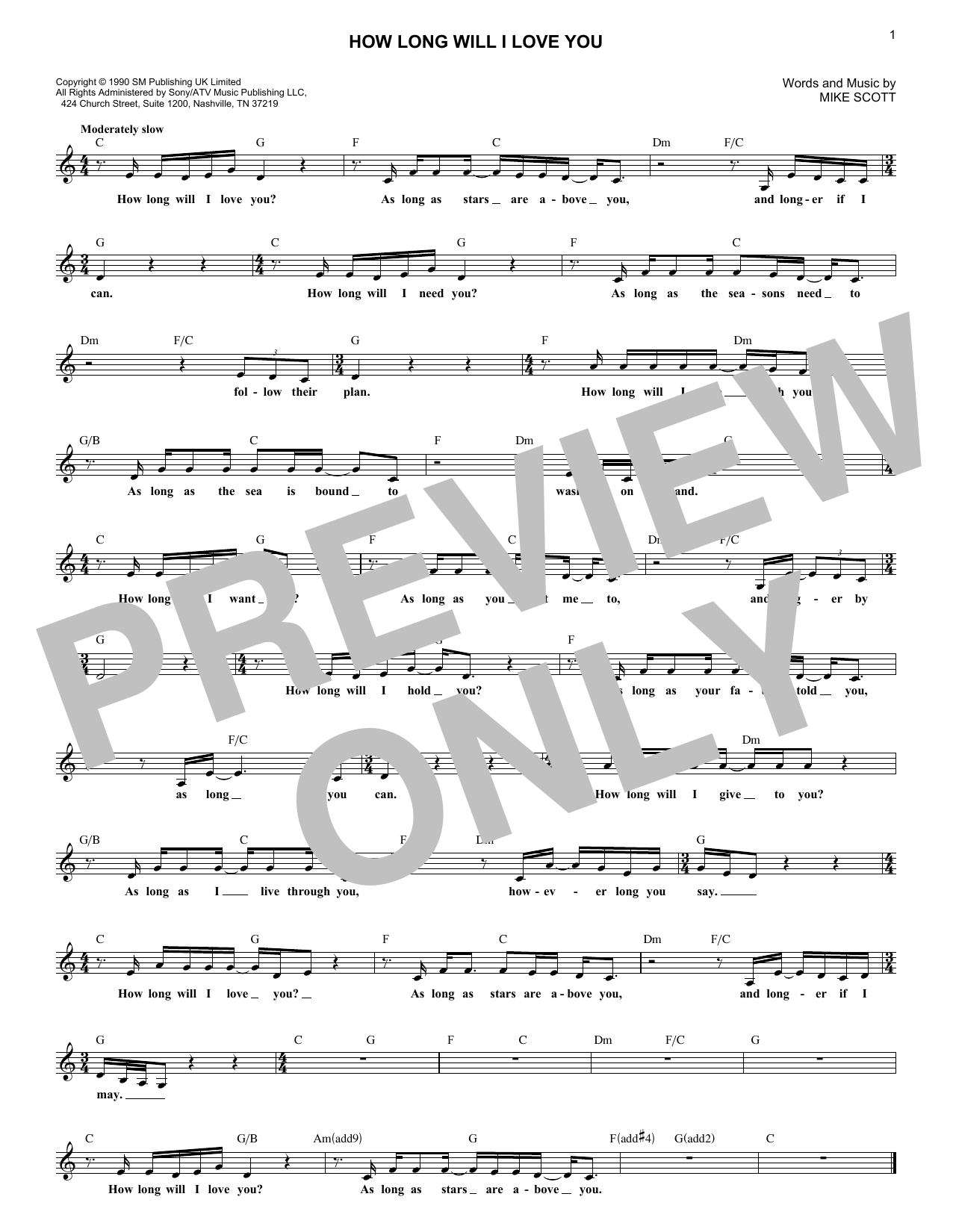 How Long Will I Love You (Lead Sheet / Fake Book)