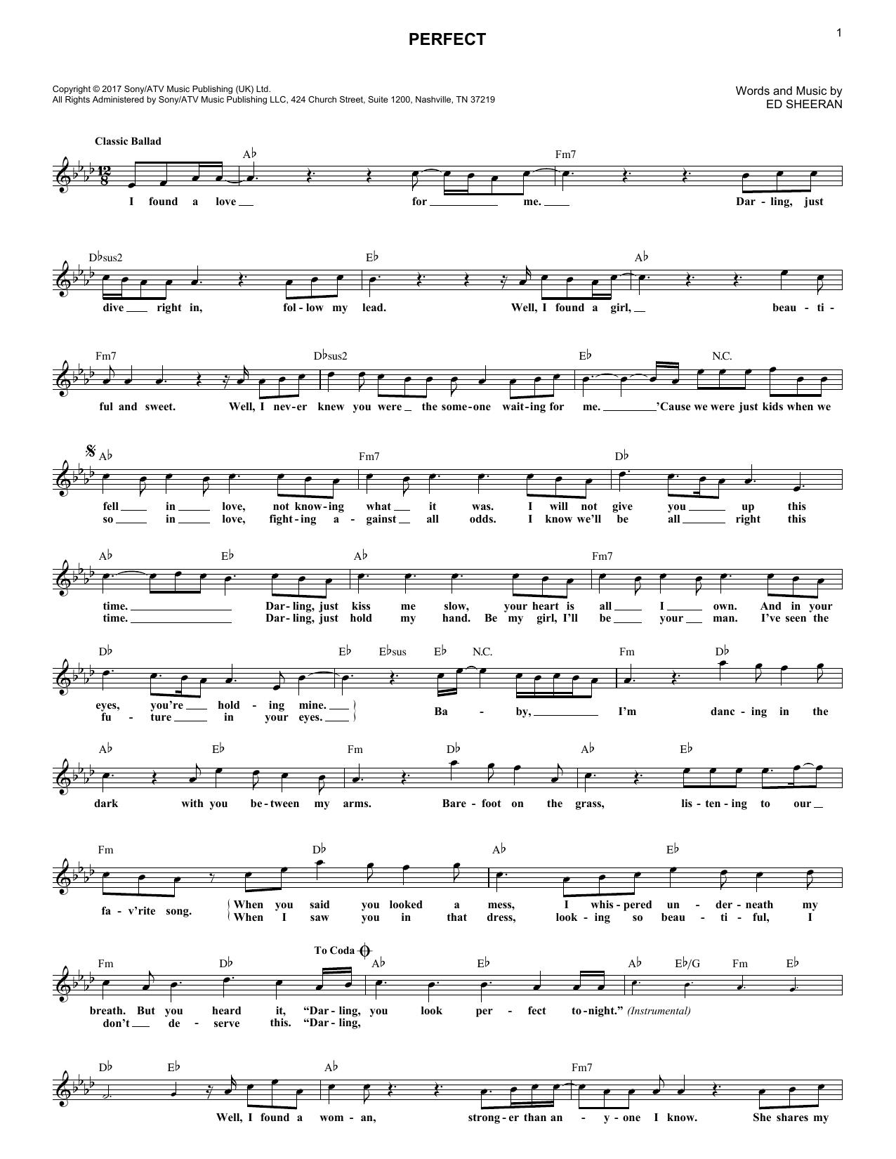 Perfect (Lead Sheet / Fake Book) - Print Sheet Music Now