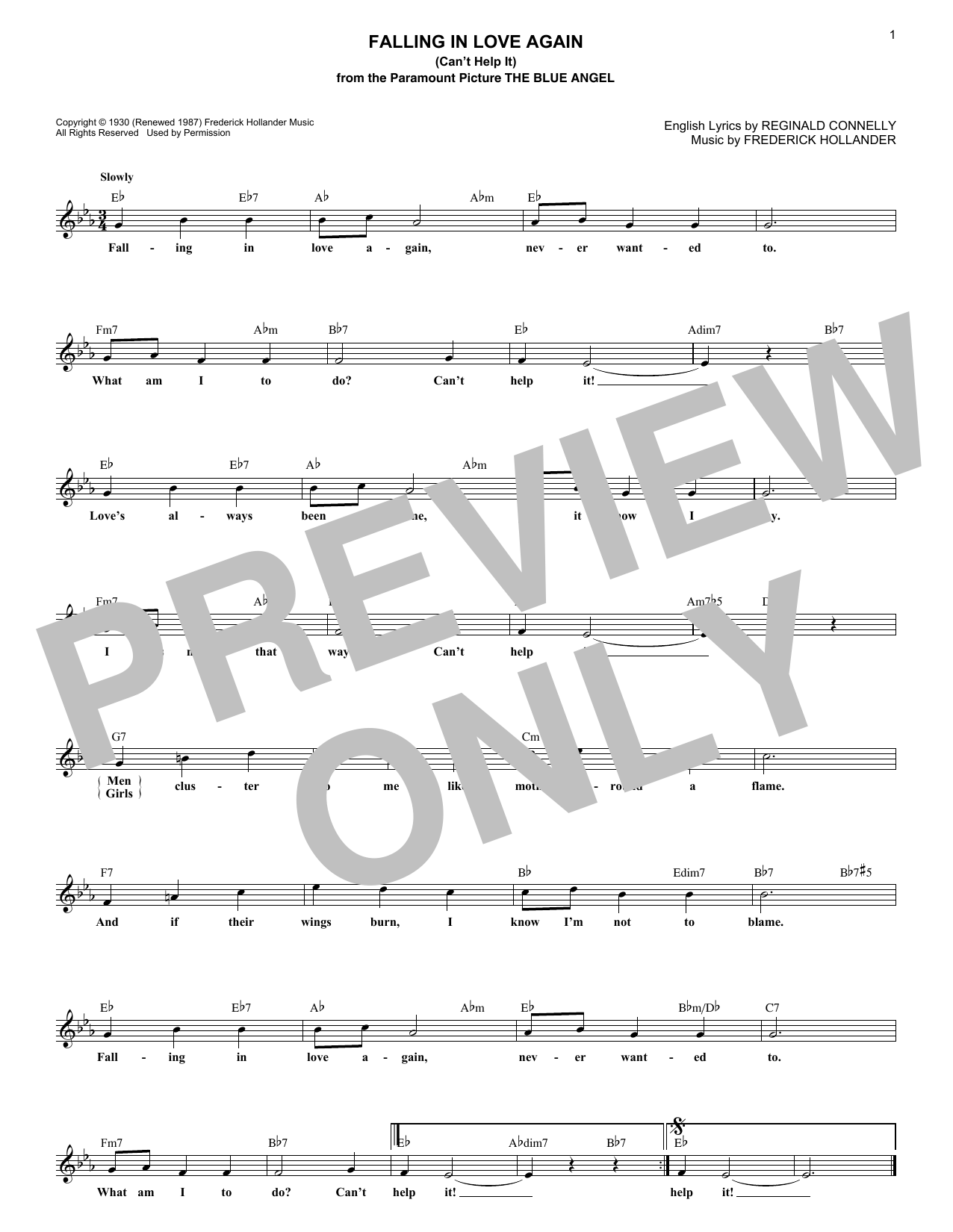 Falling In Love Again (Can't Help It) (from The Blue Angel) (Lead Sheet / Fake Book)