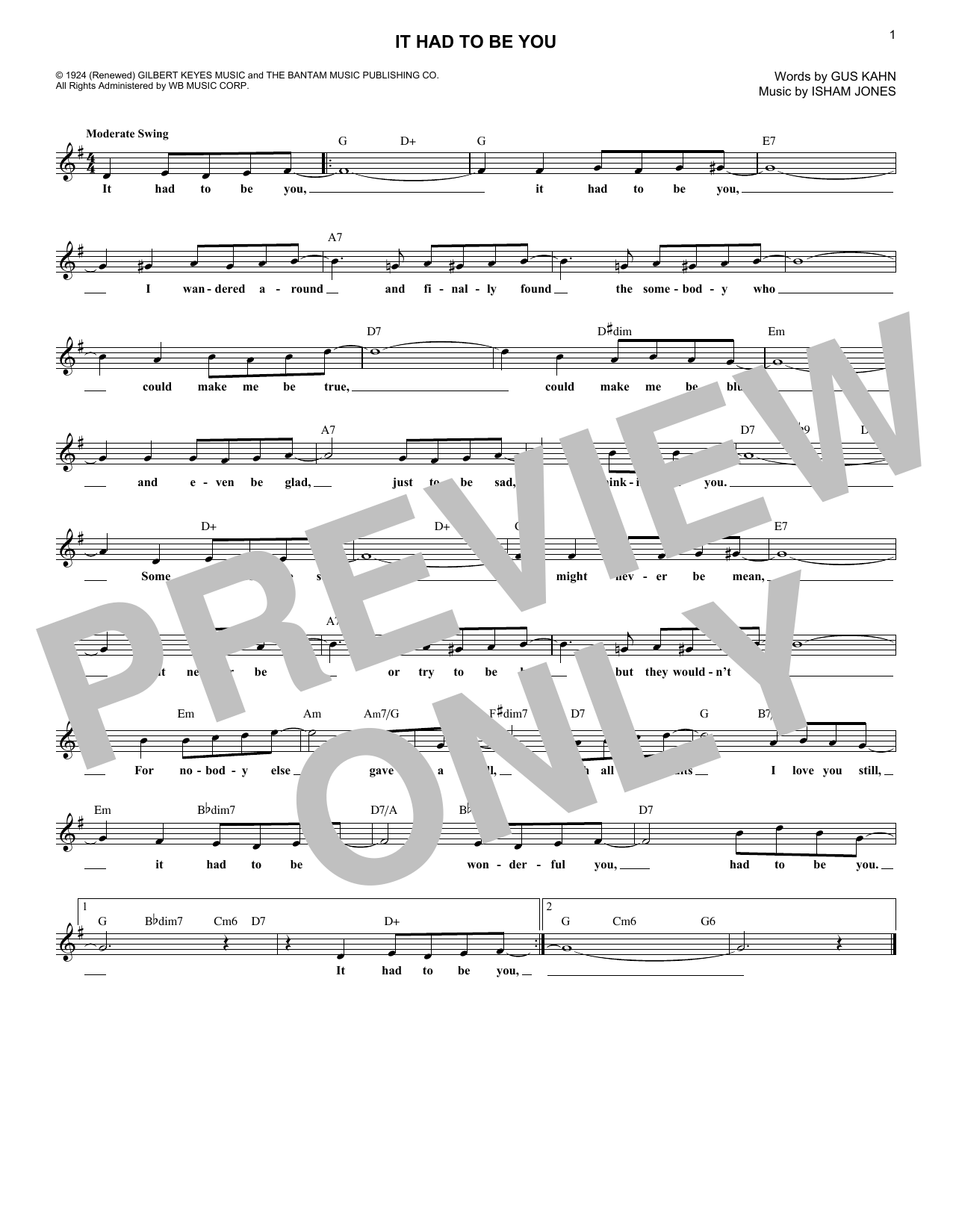 It Had To Be You (Lead Sheet / Fake Book)