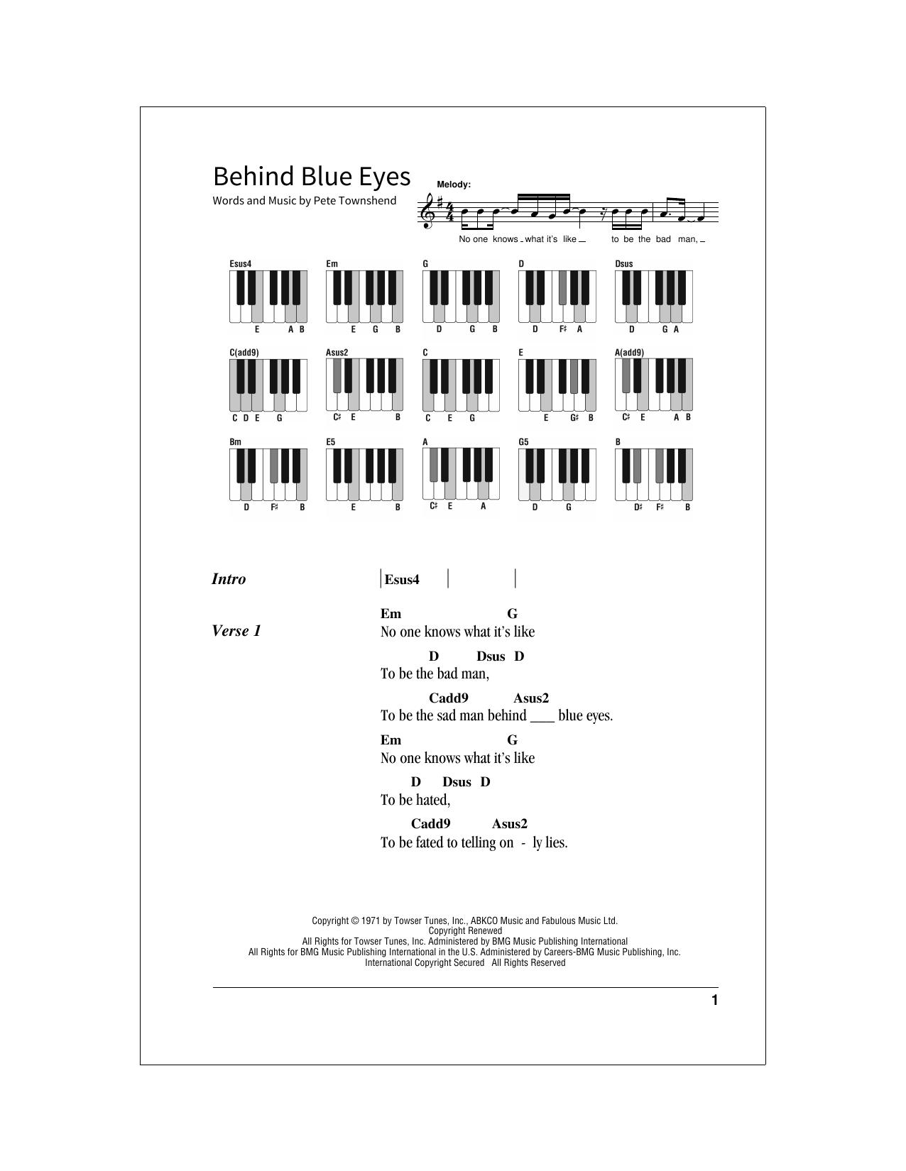 Behind Blue Eyes (School of Rock – Keys)