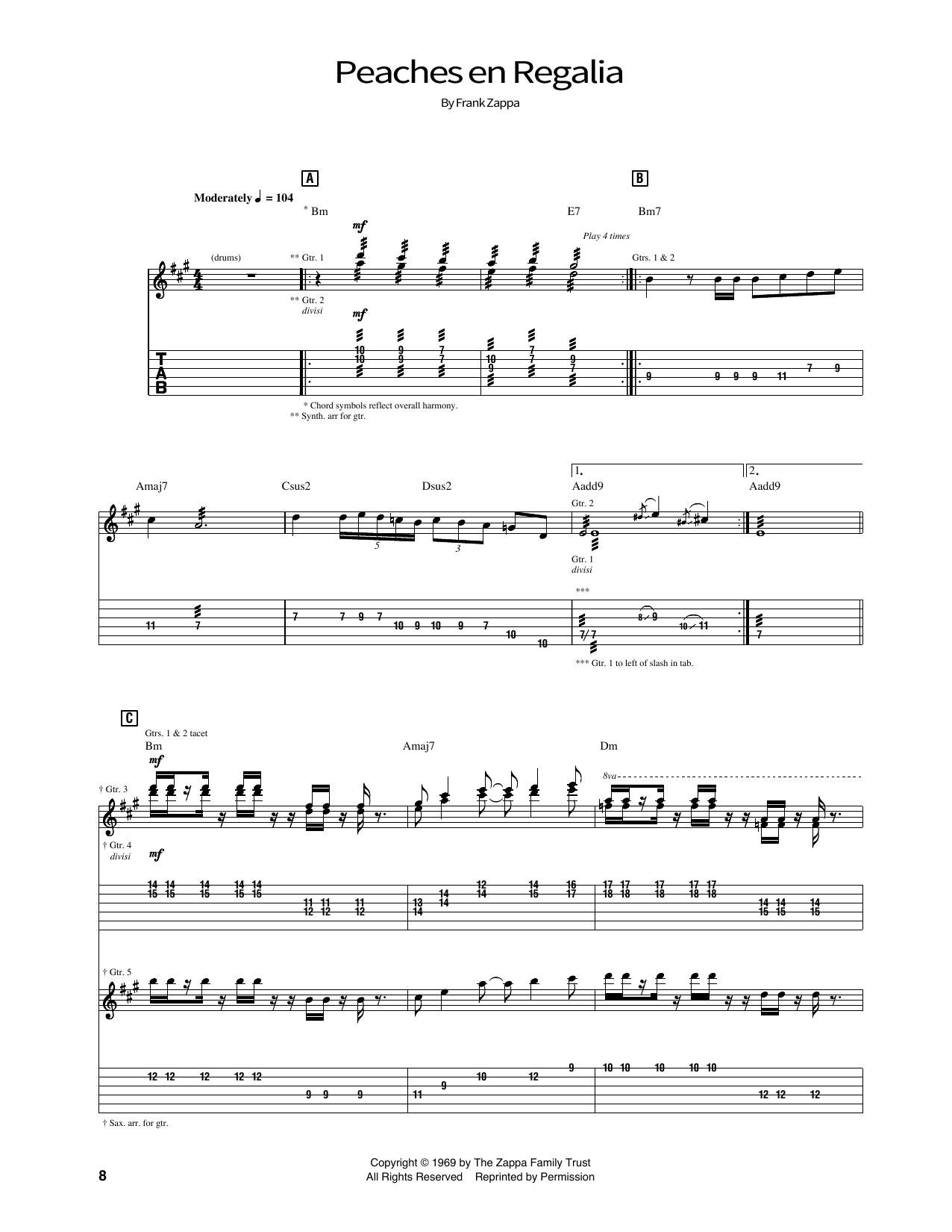 Peaches En Regalia Sheet Music By Frank Zappa School Of Rock