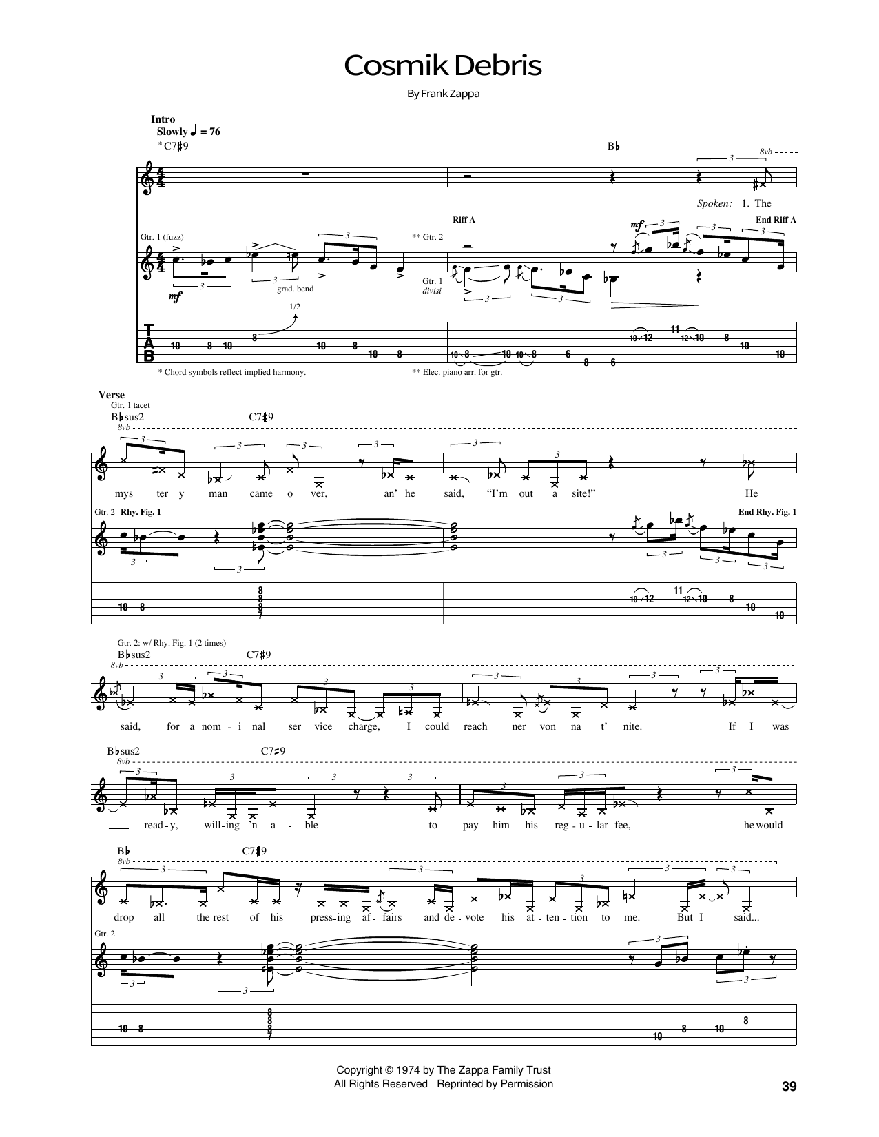Cosmik Debris Sheet Music