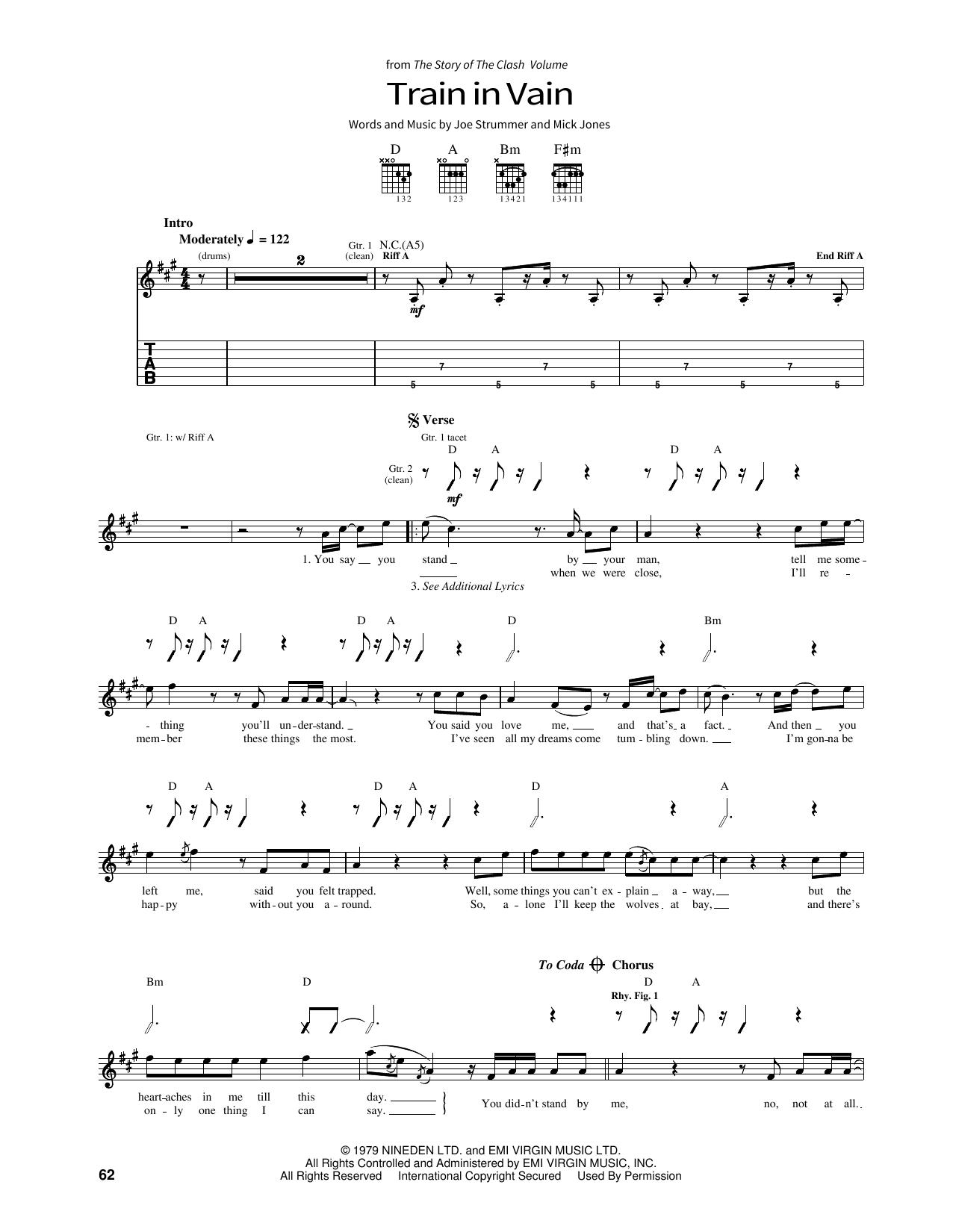 Train In Vain Sheet Music