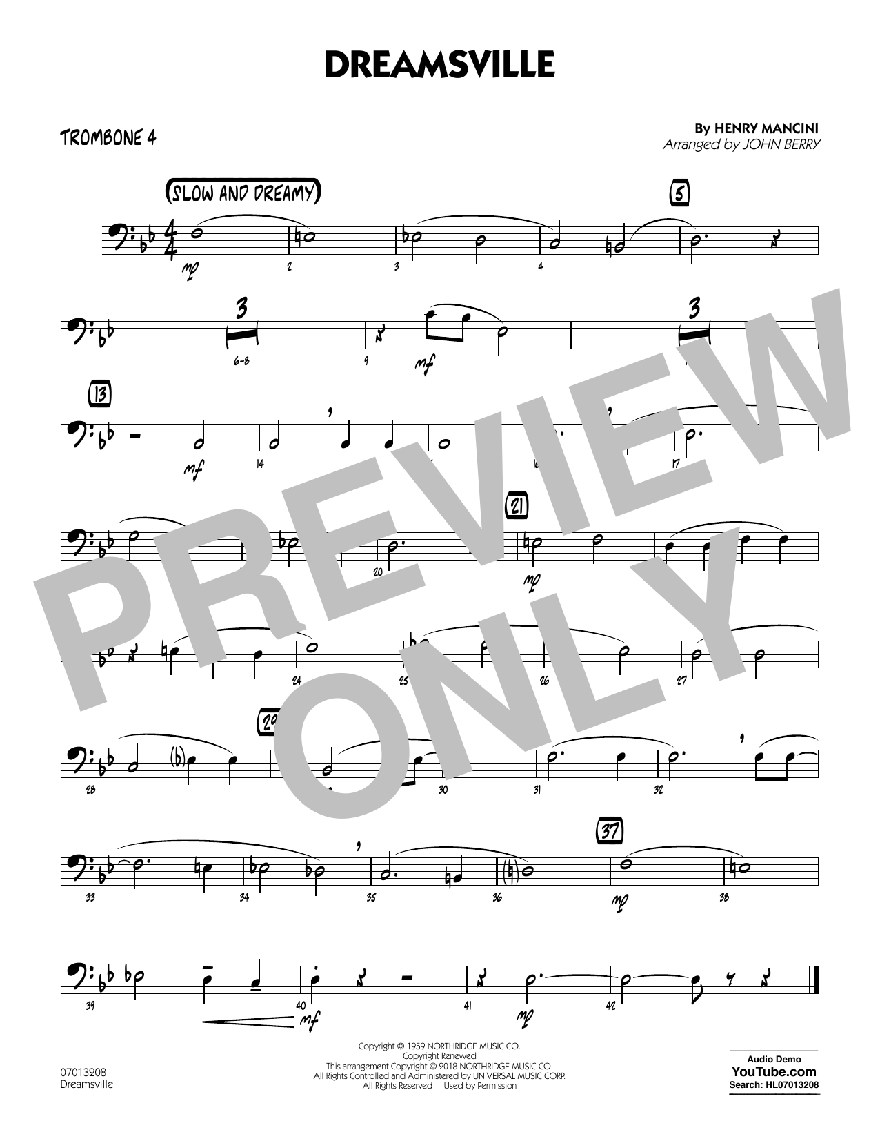 Dreamsville - Trombone 4 (Jazz Ensemble)