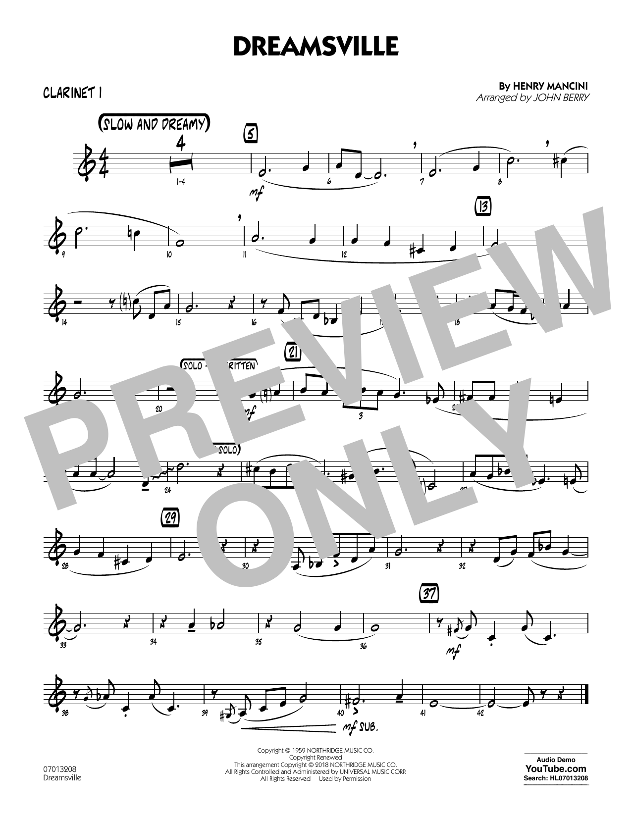Dreamsville - Bb Clarinet 1 (Jazz Ensemble)