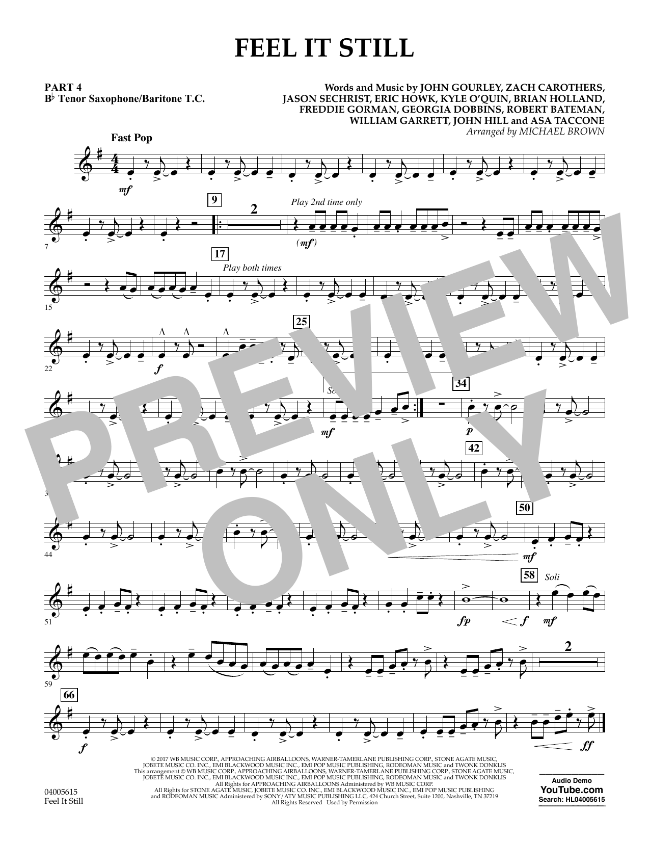 Feel It Still - Pt.4 - Bb Tenor Sax/Bar. T.C. (Flex-Band)