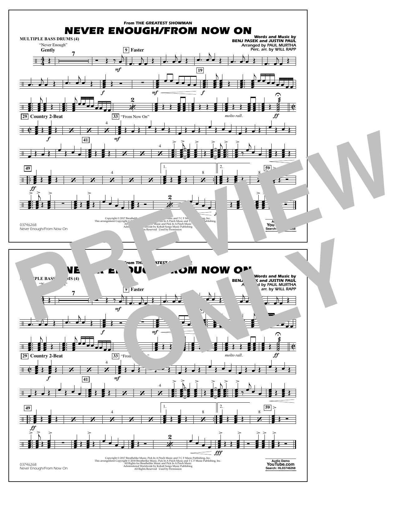Never Enough/From Now On - Multiple Bass Drums (Marching Band)