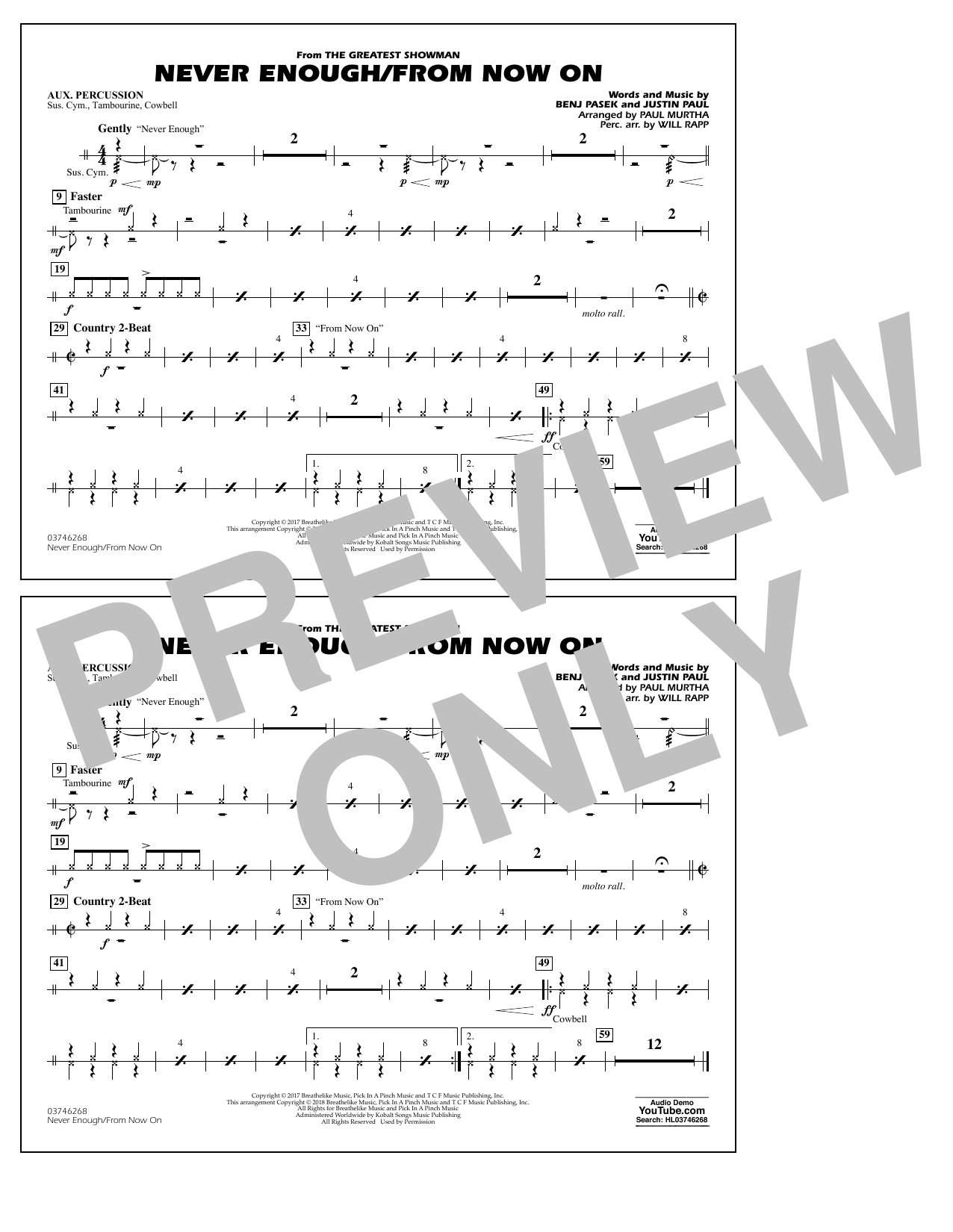 Never Enough/From Now On - Aux Percussion (Marching Band)