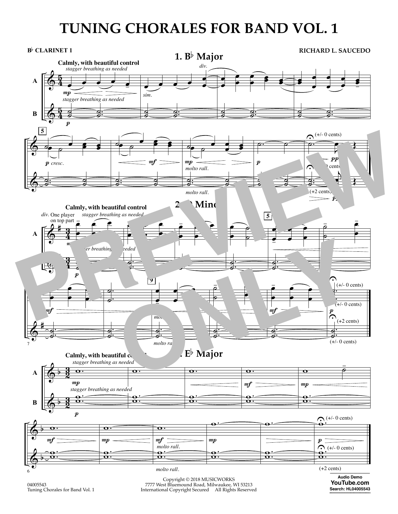 Tuning Chorales for Band - Bb Clarinet 1 (Concert Band)