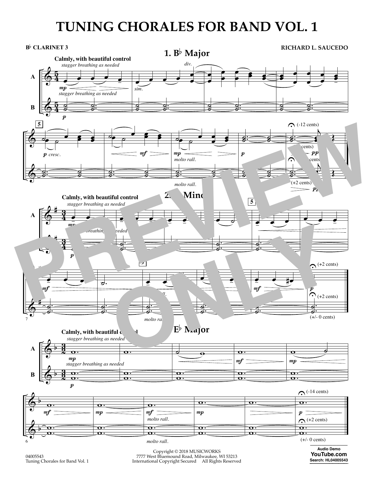 Tuning Chorales for Band - Bb Clarinet 3 (Concert Band)