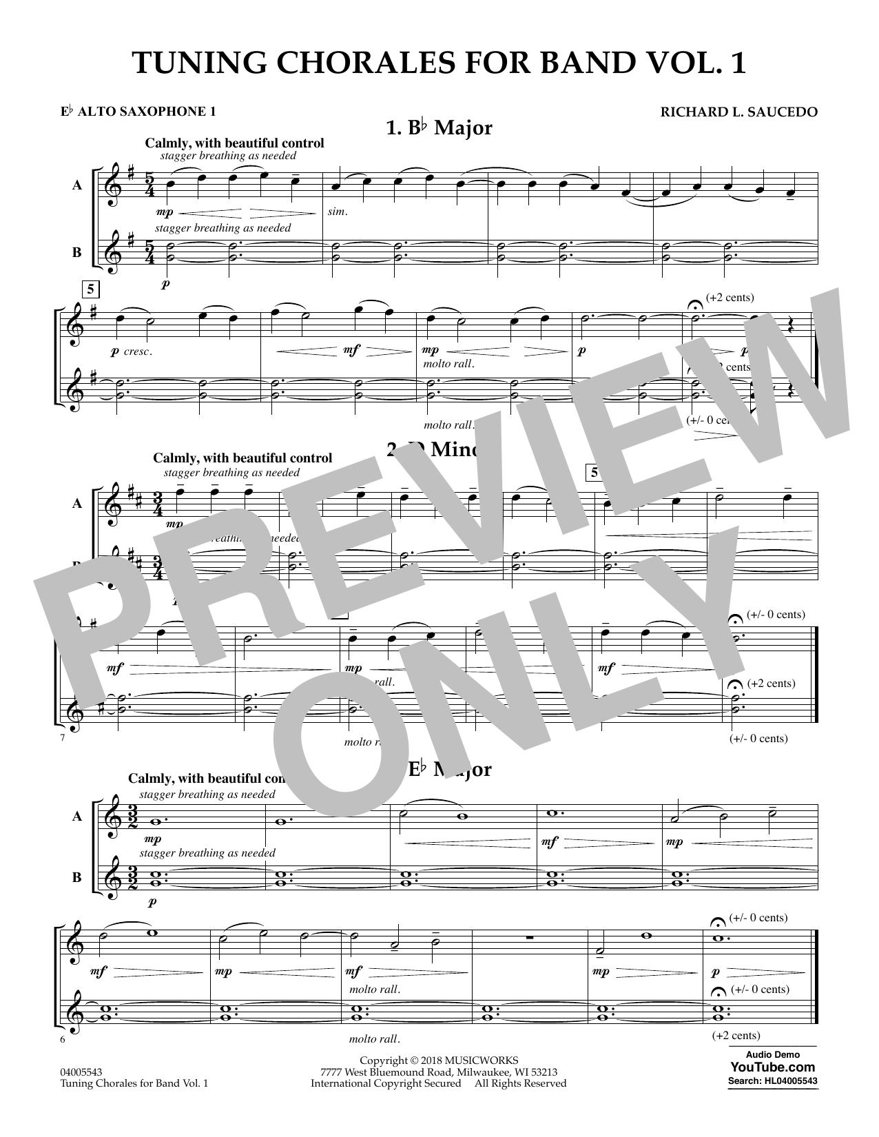 tuning chorales for band - eb alto saxophone 1 (concert band)  score exchange