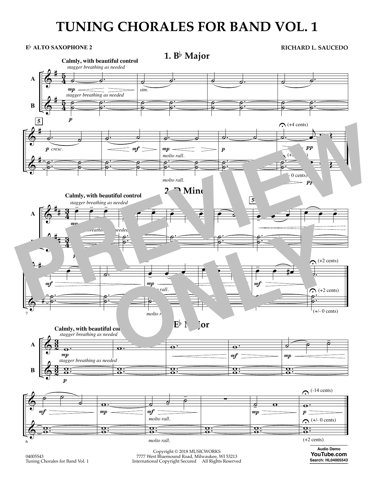 Tuning Chorales for Band - Eb Alto Saxophone 2 (Concert Band)