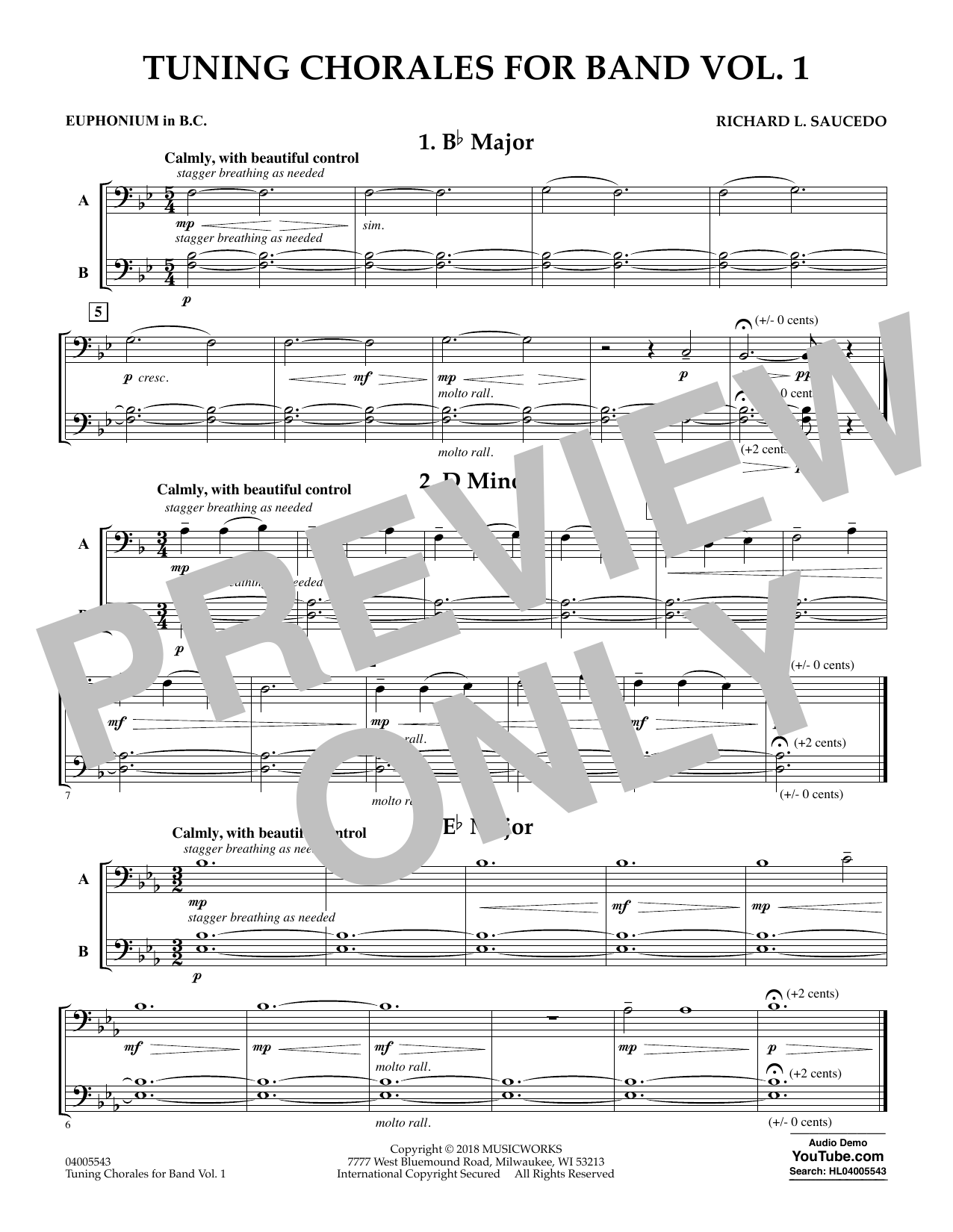 Tuning Chorales for Band - Euphonium in Bass Clef (Concert Band)