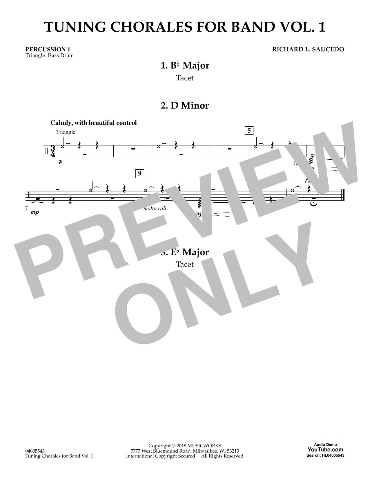 Tuning Chorales for Band - Percussion 1 (Concert Band)