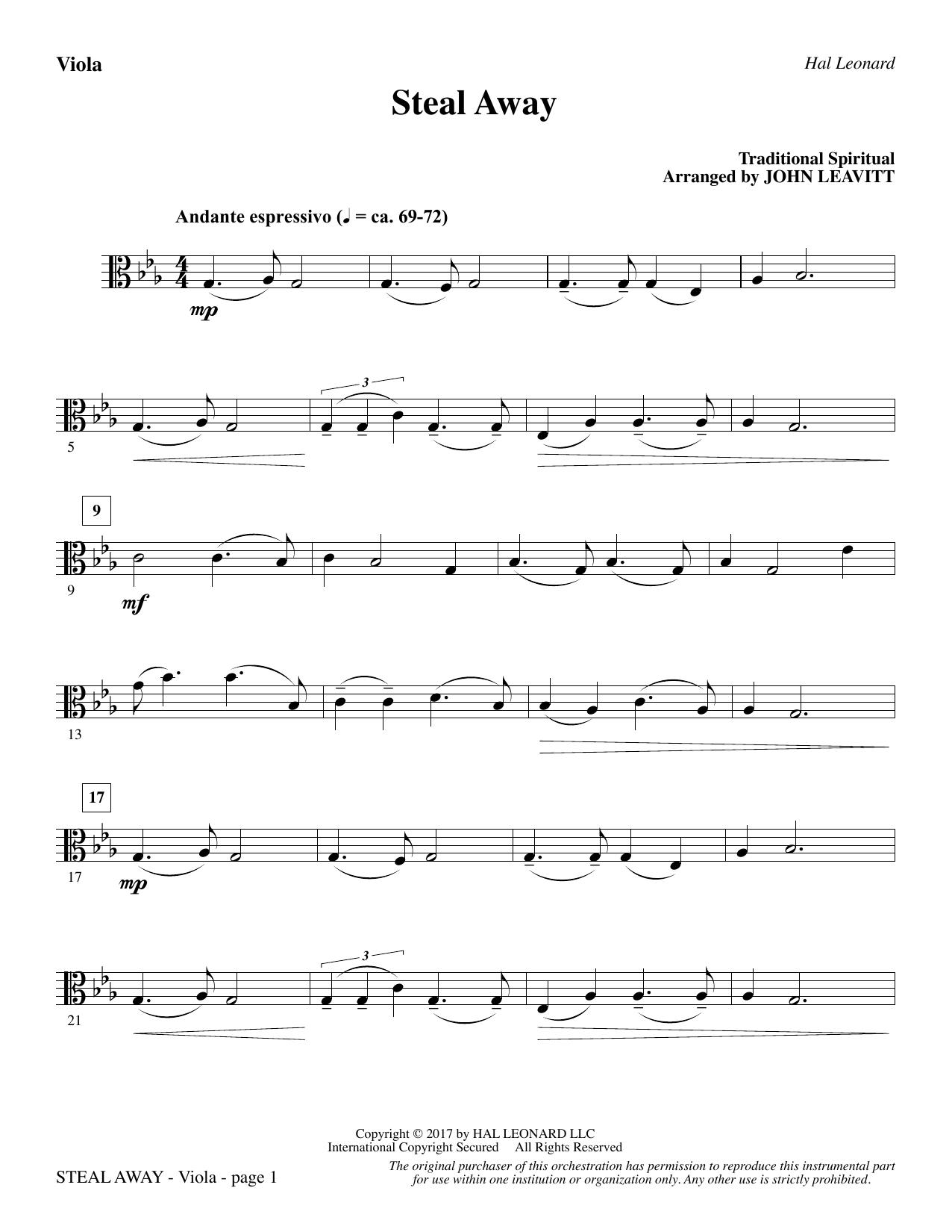 Steal Away - Viola (Choir Instrumental Pak)