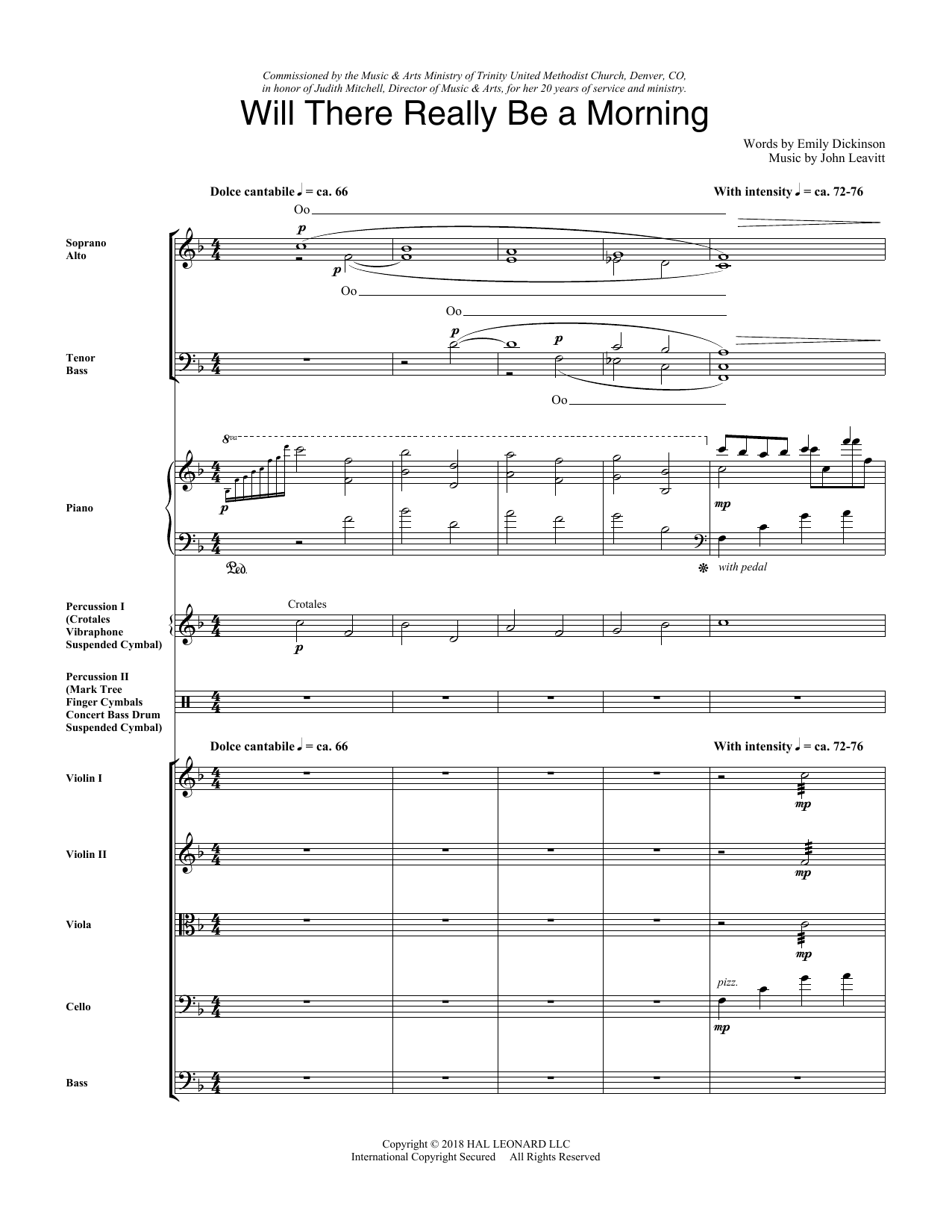Will There Really Be A Morning - Score (Choir Instrumental Pak)