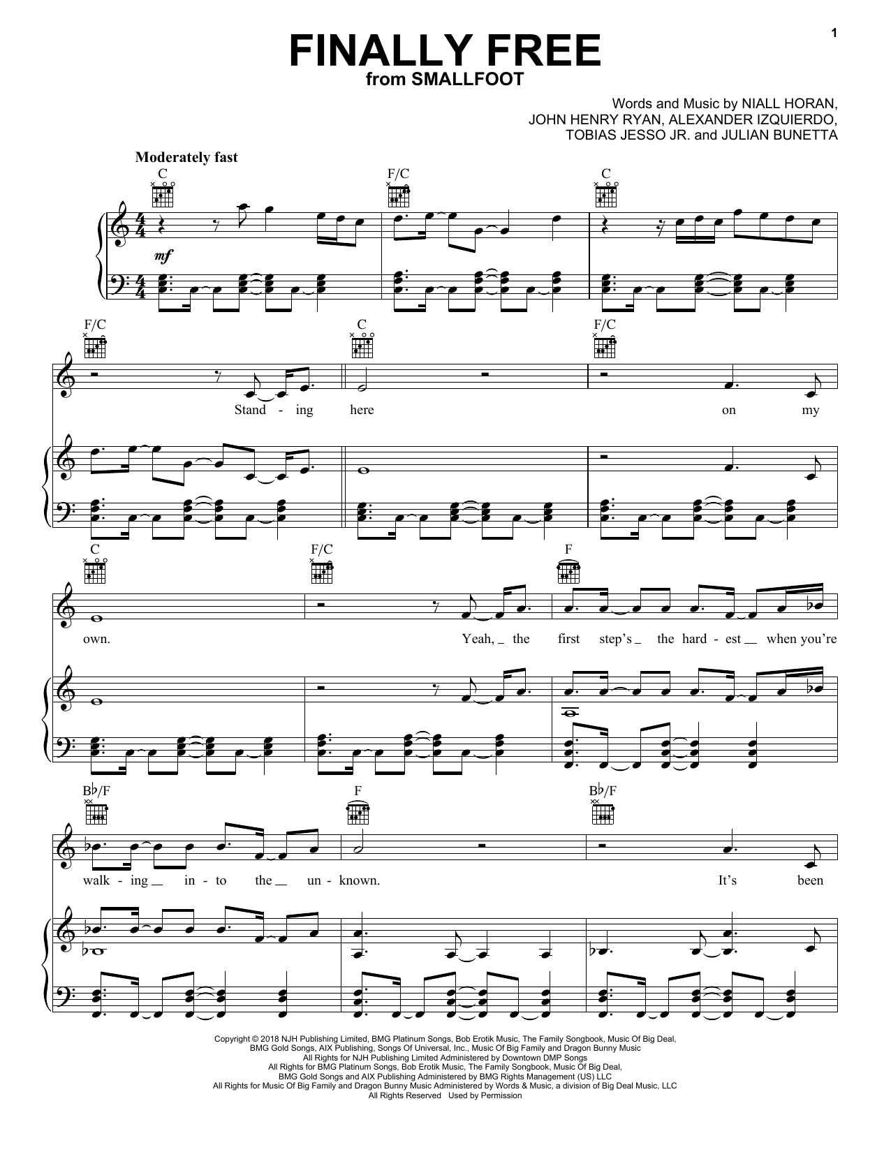 Finally Free (Piano, Vocal & Guitar (Right-Hand Melody))