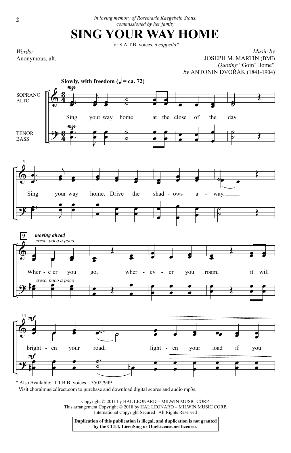Sing Your Way Home (SATB Choir)