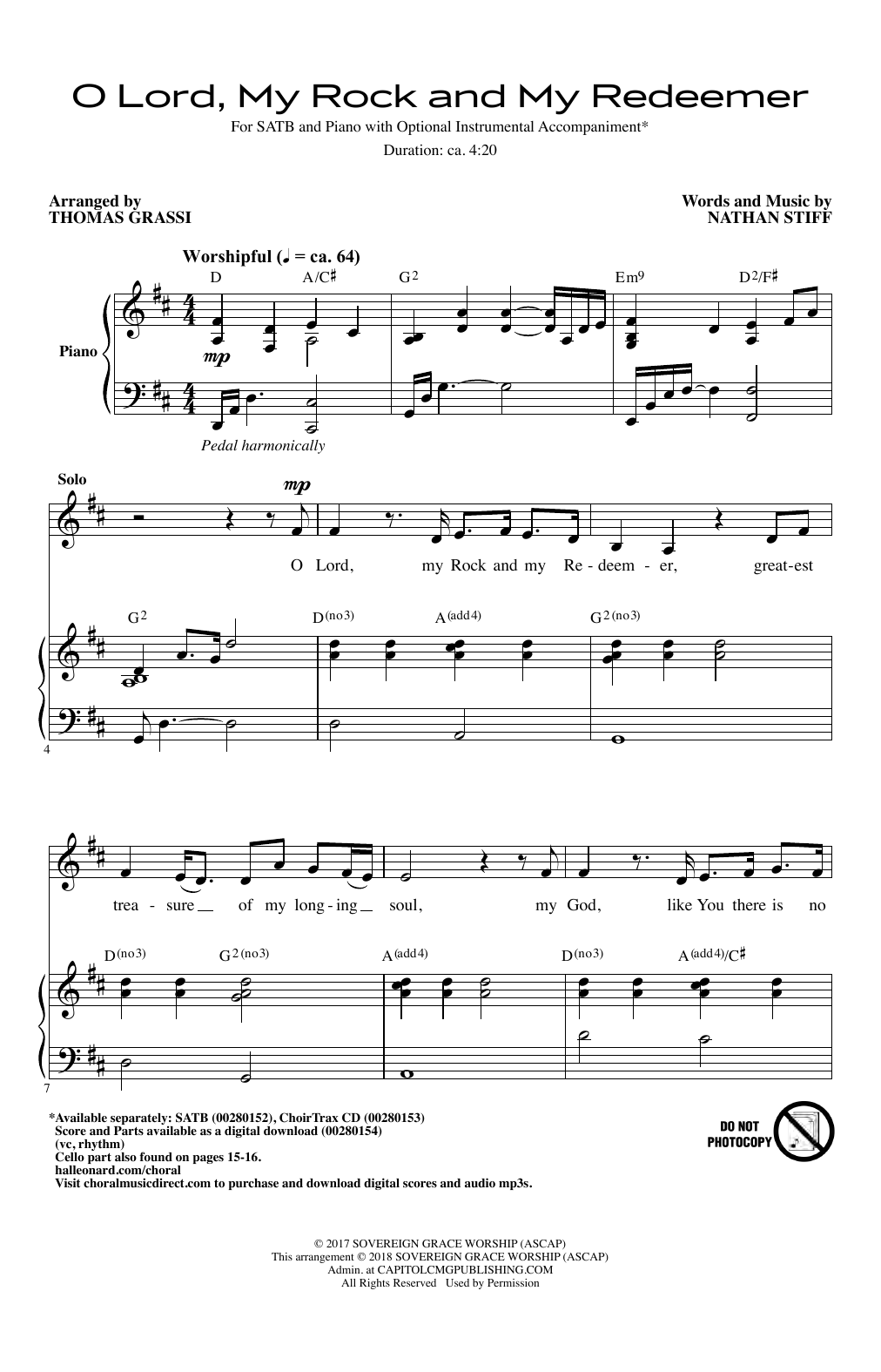 O Lord, My Rock And My Redeemer Sheet Music