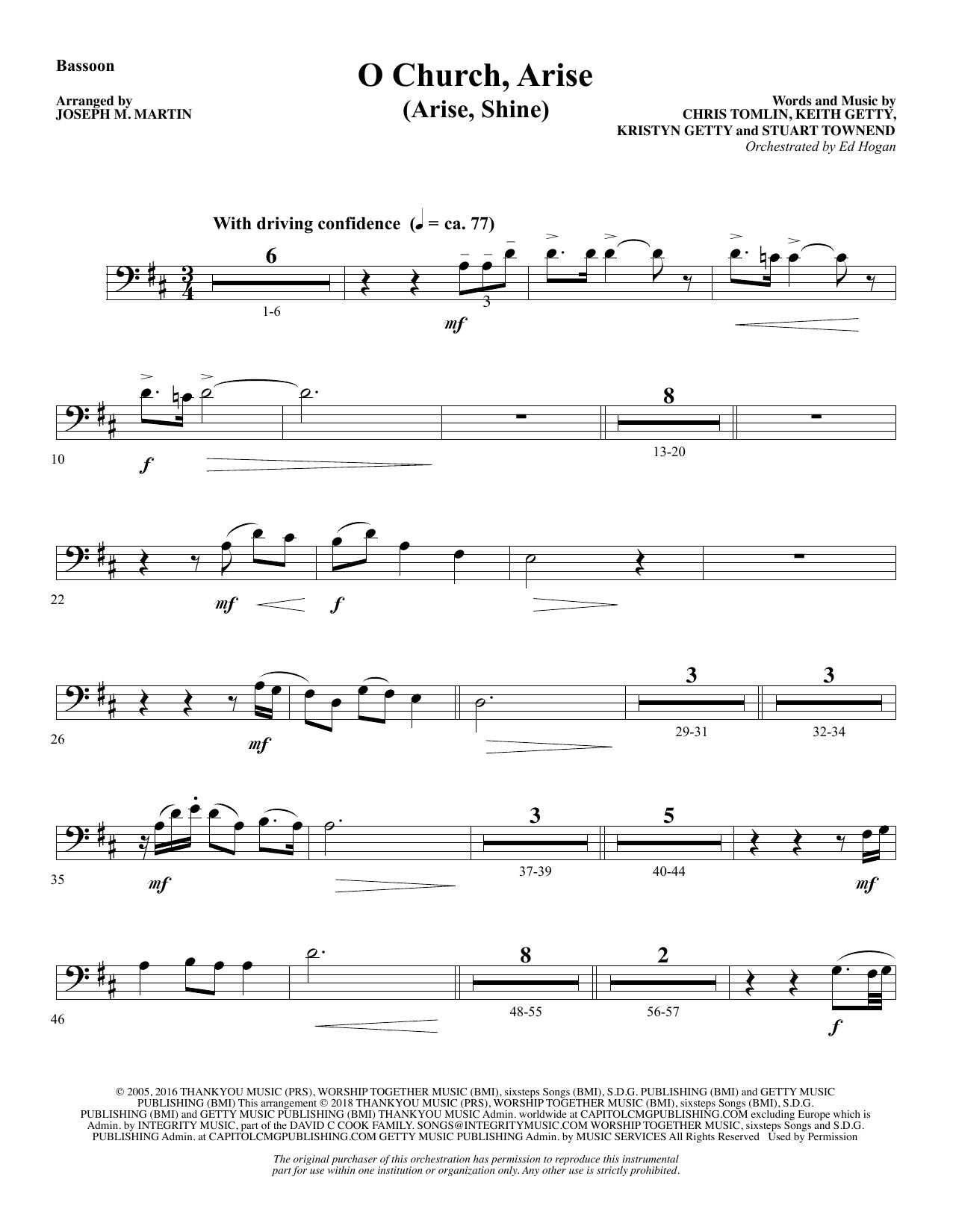 O Church, Arise (Arise, Shine) - Bassoon (Choir Instrumental Pak)