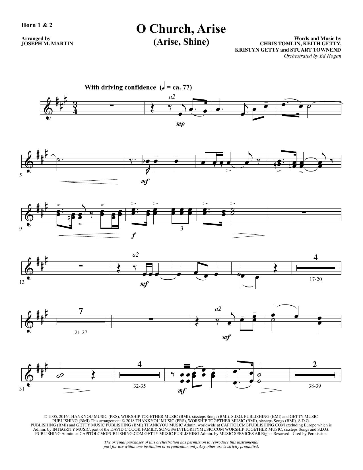 O Church, Arise (Arise, Shine) - F Horn 1 & 2 (Choir Instrumental Pak)