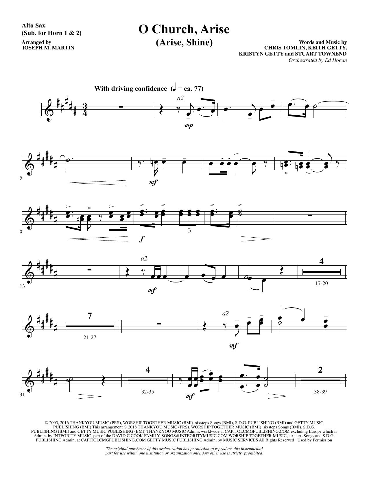 O Church, Arise (Arise, Shine) - Alto Sax (sub. Horn) (Choir Instrumental Pak)