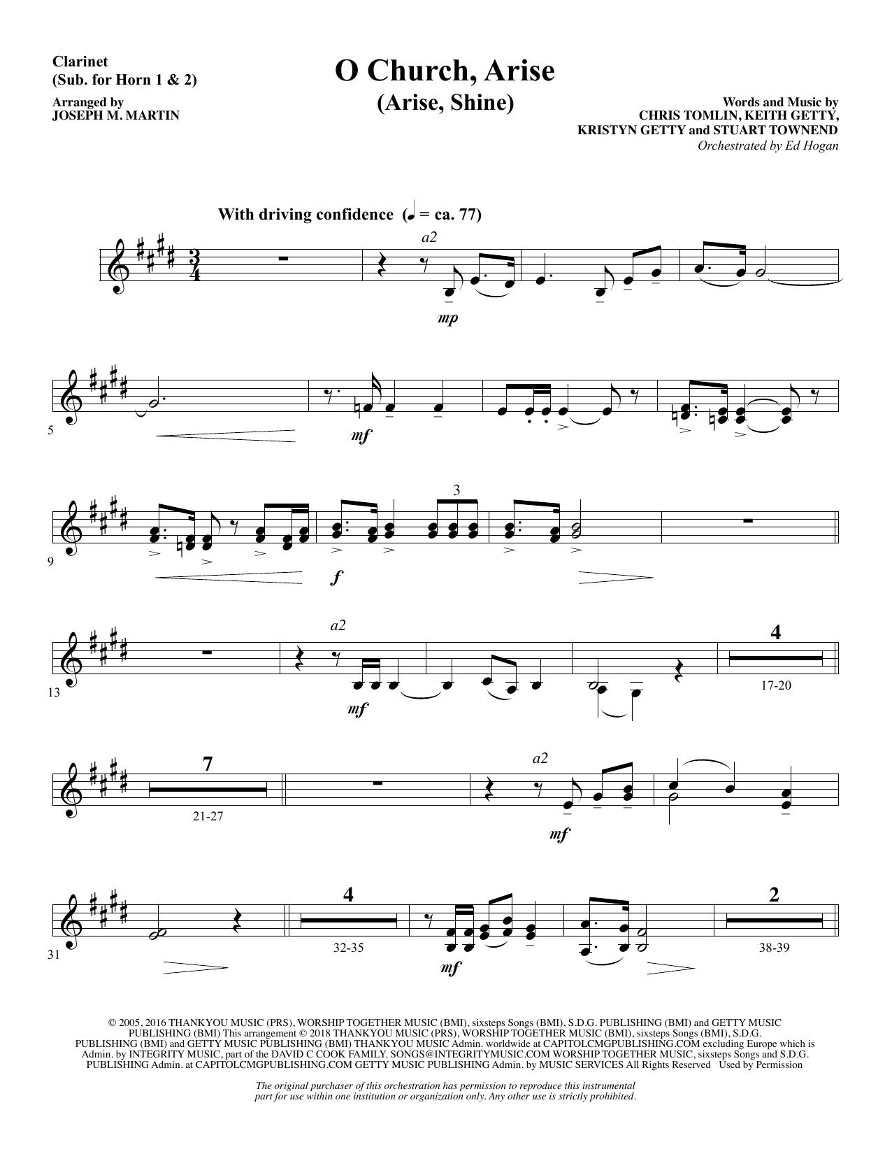 O Church, Arise (Arise, Shine) - Clarinet (sub. Horn 1-2) (Choir Instrumental Pak)