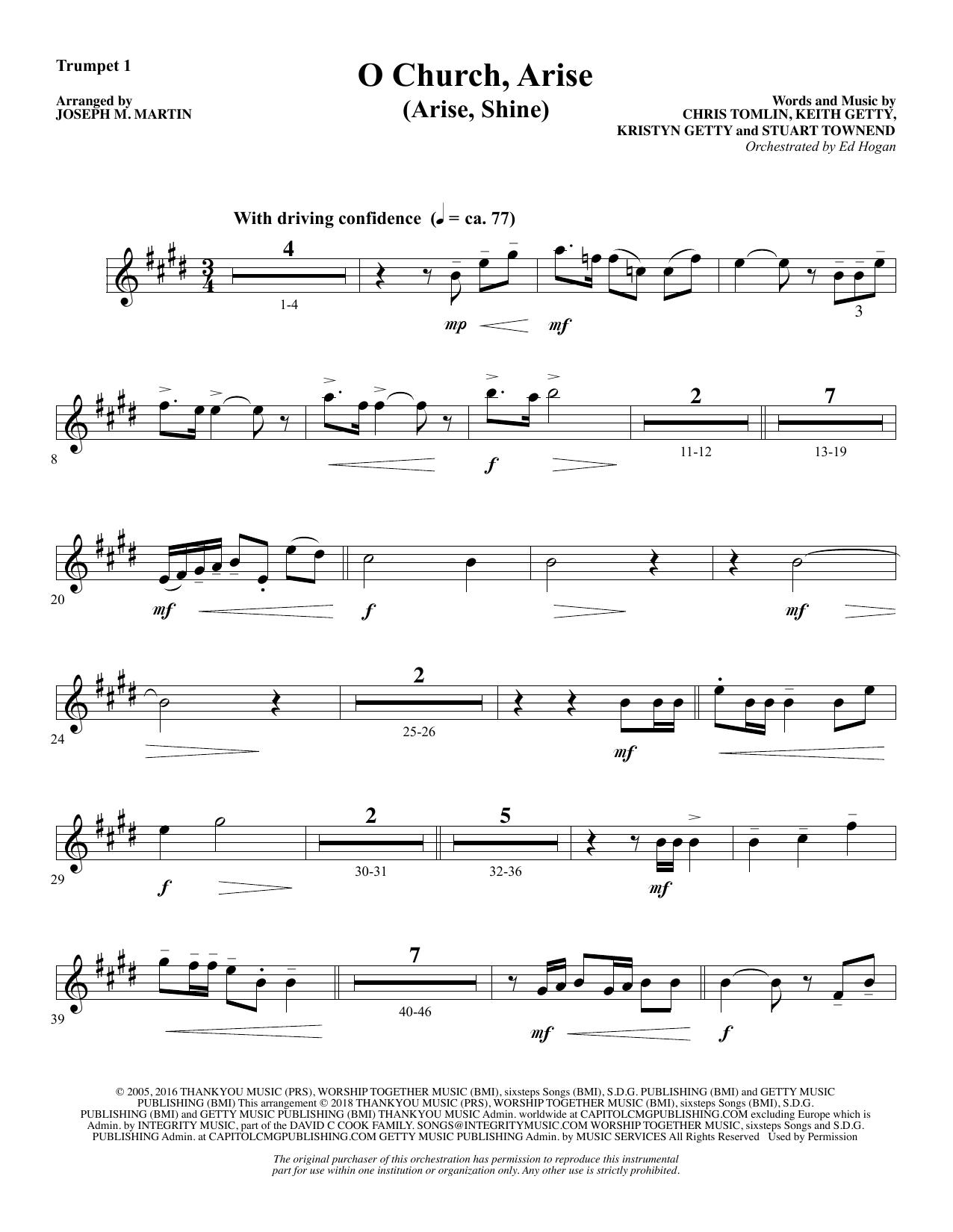 O Church, Arise (Arise, Shine) - Bb Trumpet 1 (Choir Instrumental Pak)