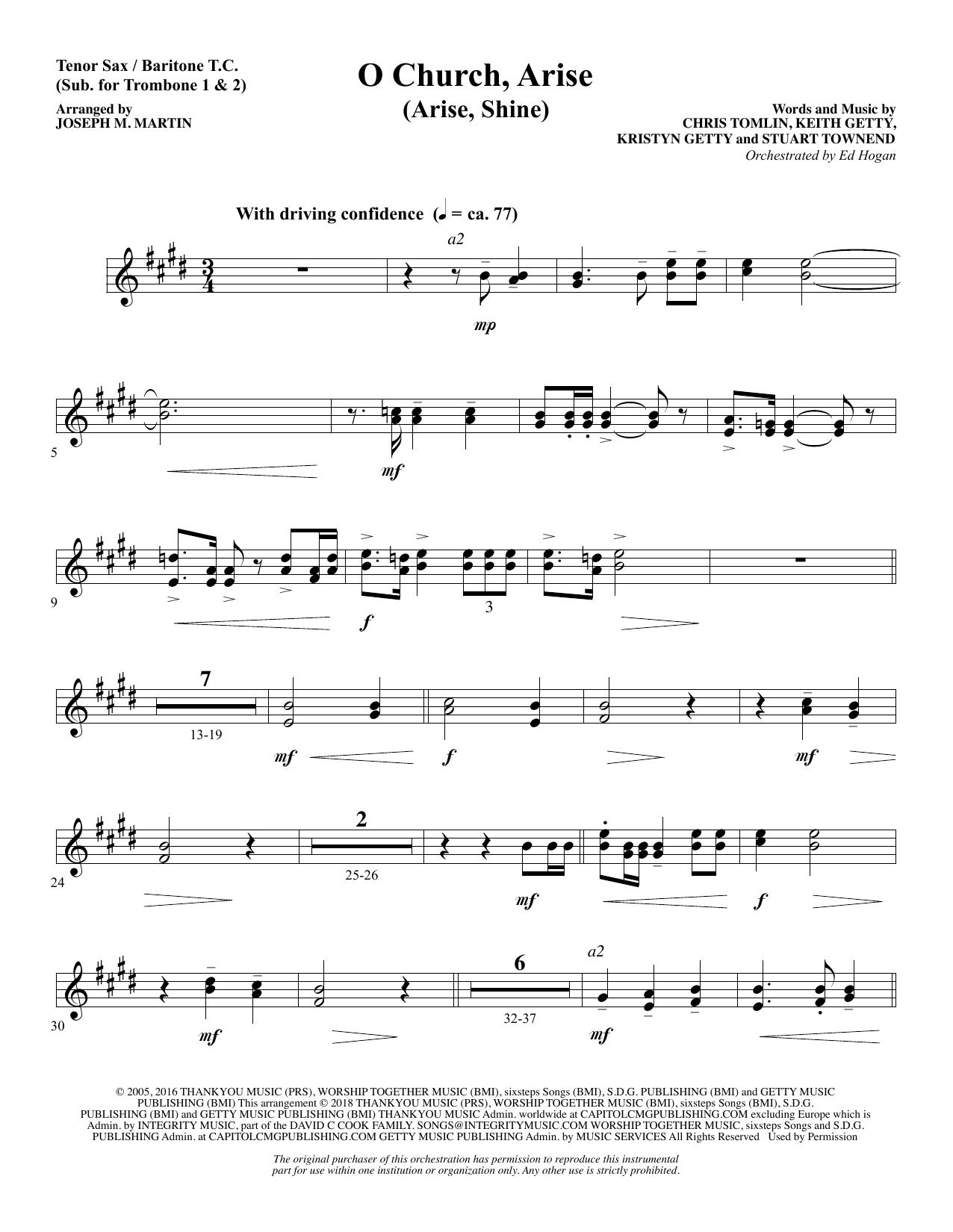 O Church, Arise (Arise, Shine) - Tenor Sax/BariTC (sub Tbn 1-2) (Choir Instrumental Pak)