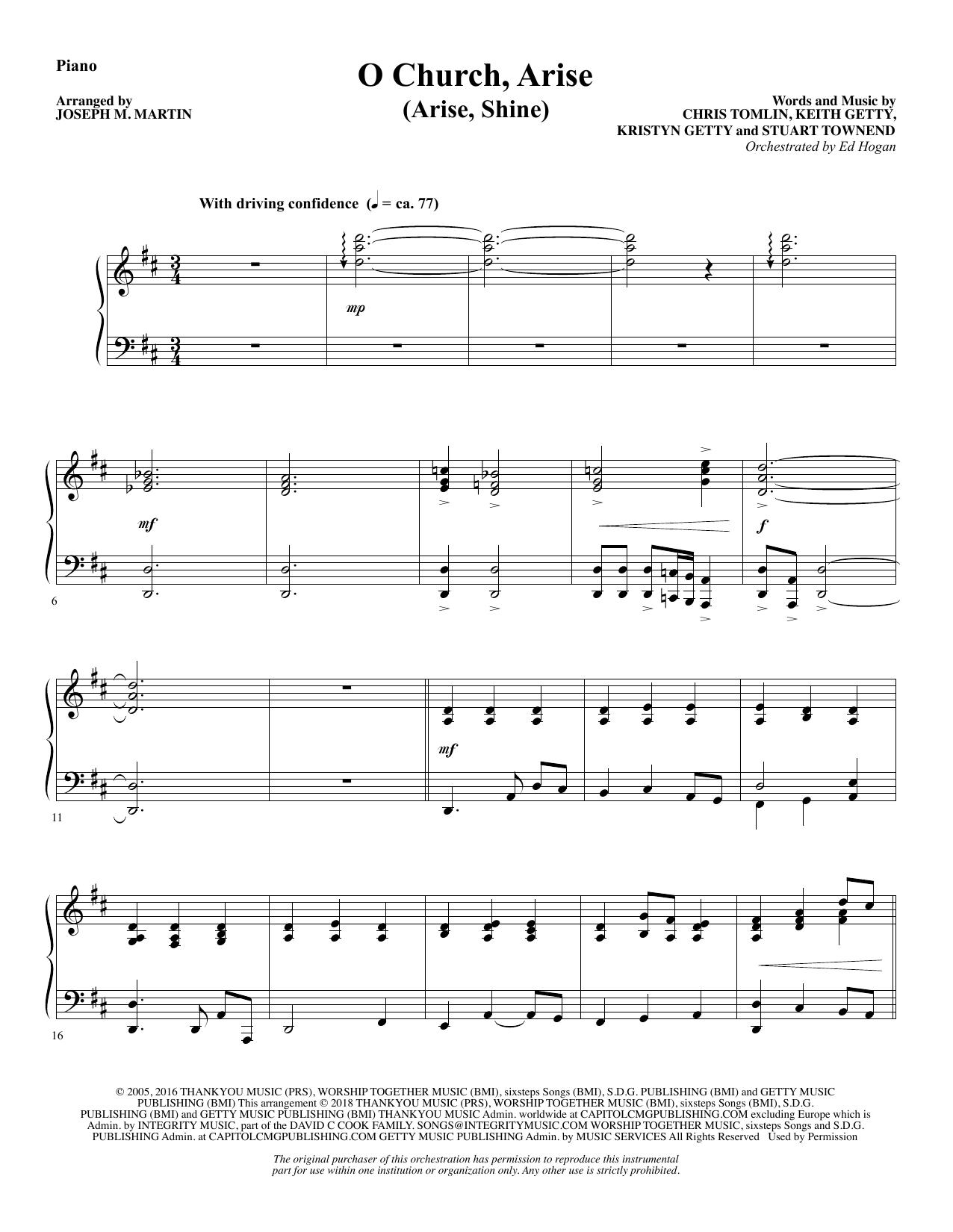 O Church, Arise (Arise, Shine) - Piano (Choir Instrumental Pak)
