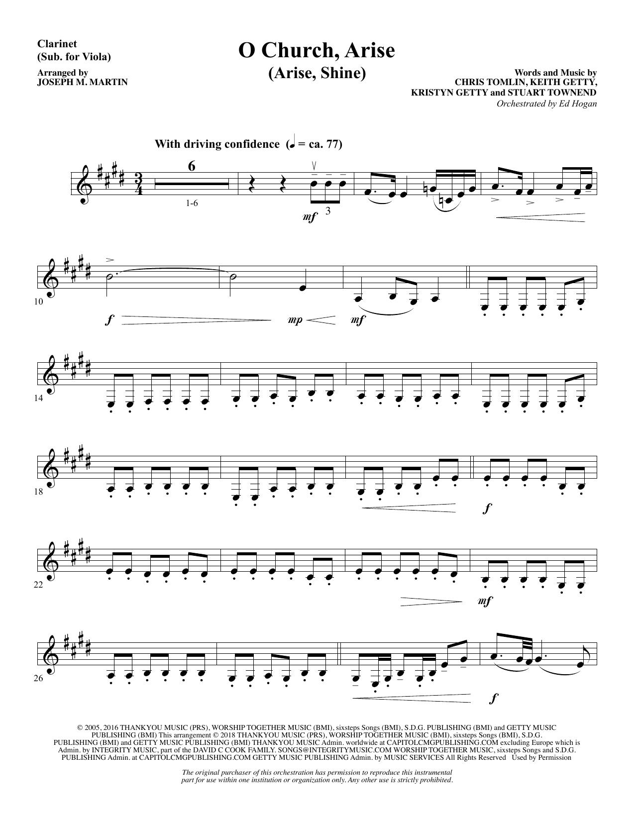 O Church, Arise (Arise, Shine) - Clarinet (sub. Viola) (Choir Instrumental Pak)