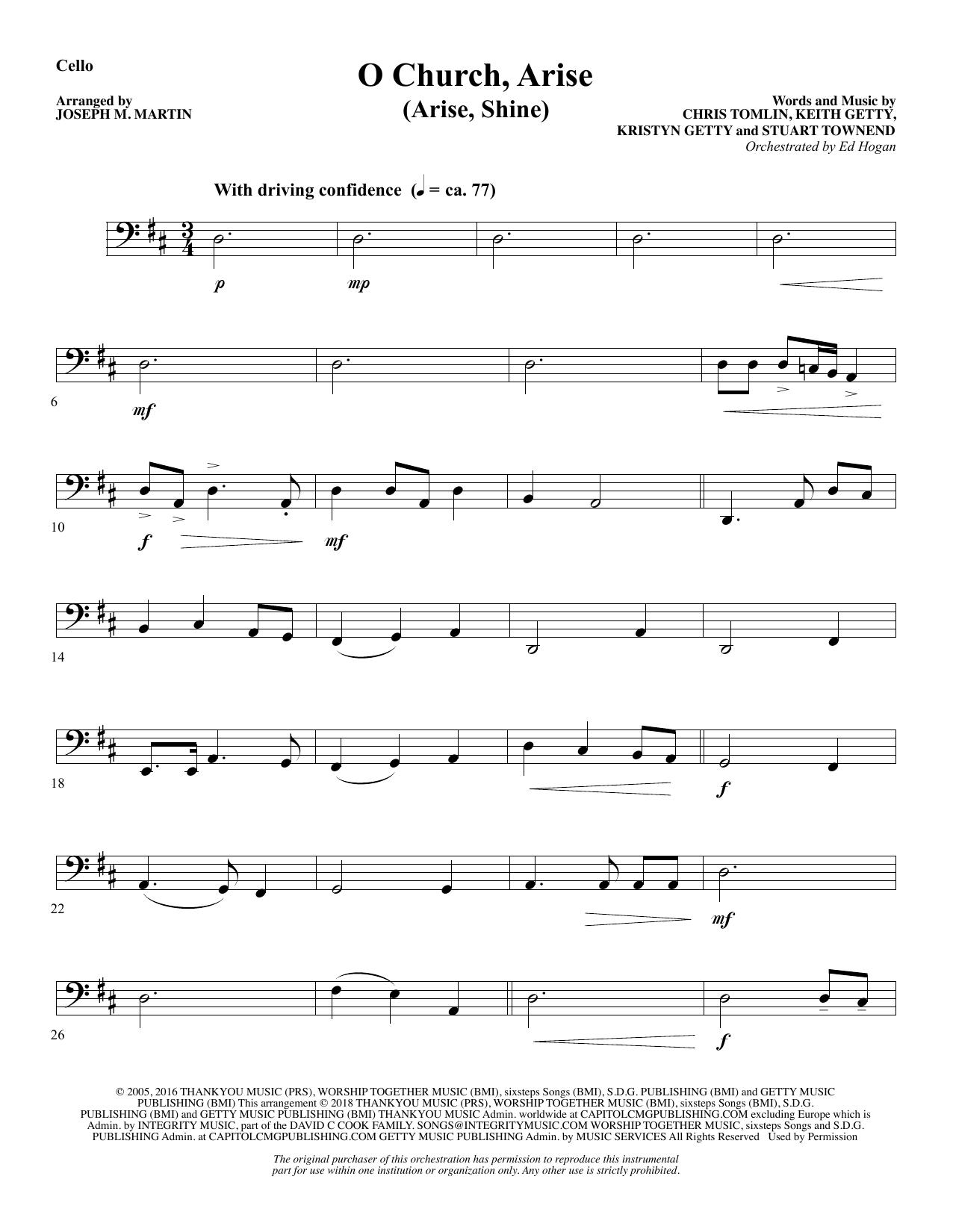 O Church, Arise (Arise, Shine) - Cello (Choir Instrumental Pak)