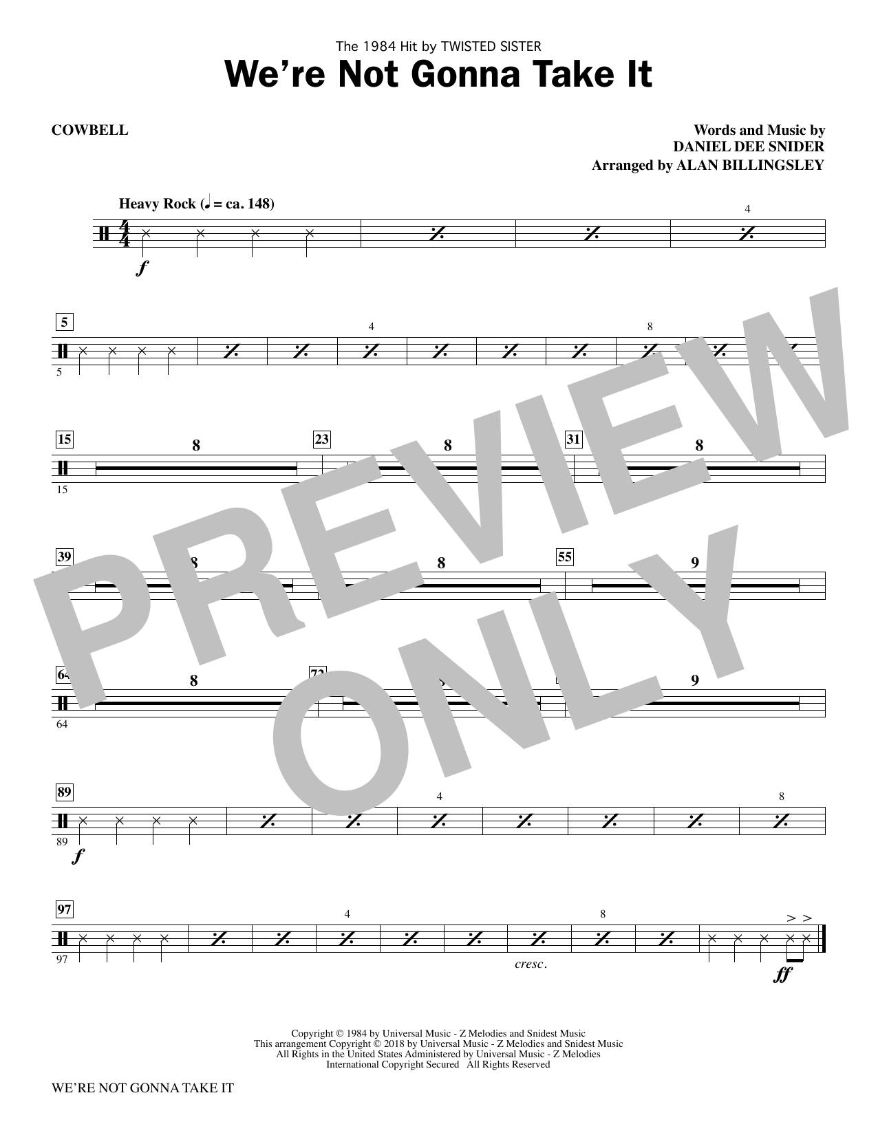 We're Not Gonna Take It - Cowbell (Choir Instrumental Pak)