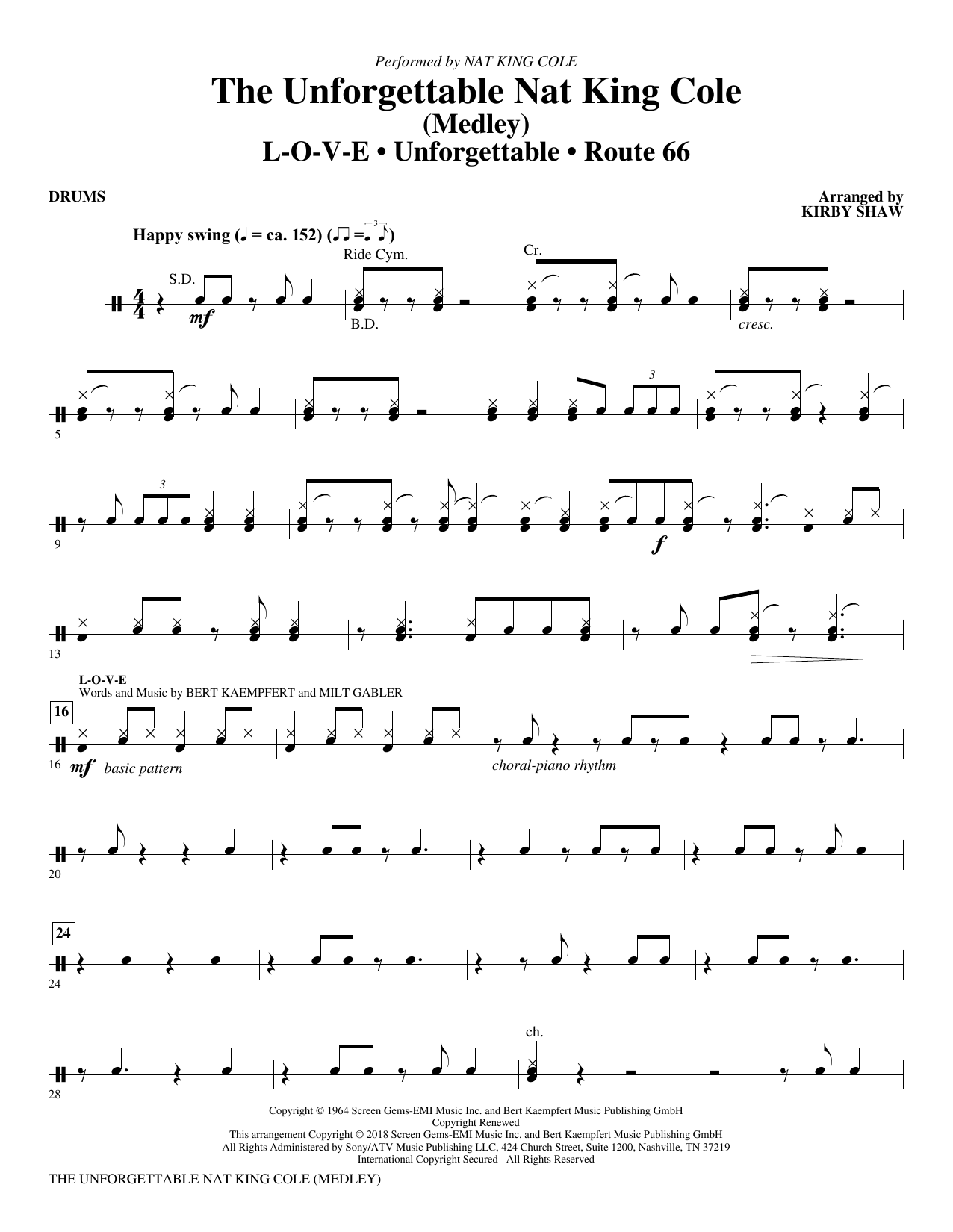 The Unforgettable Nat King Cole - Drums (Choir Instrumental Pak)