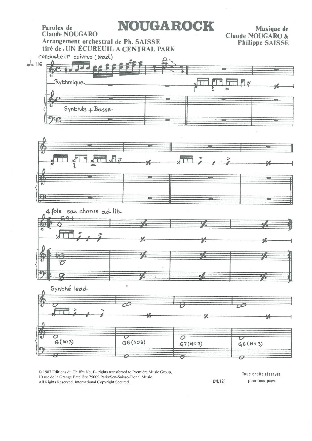 "Nougarock (from ""Un Ecureuil A Central Park"") Sheet Music"