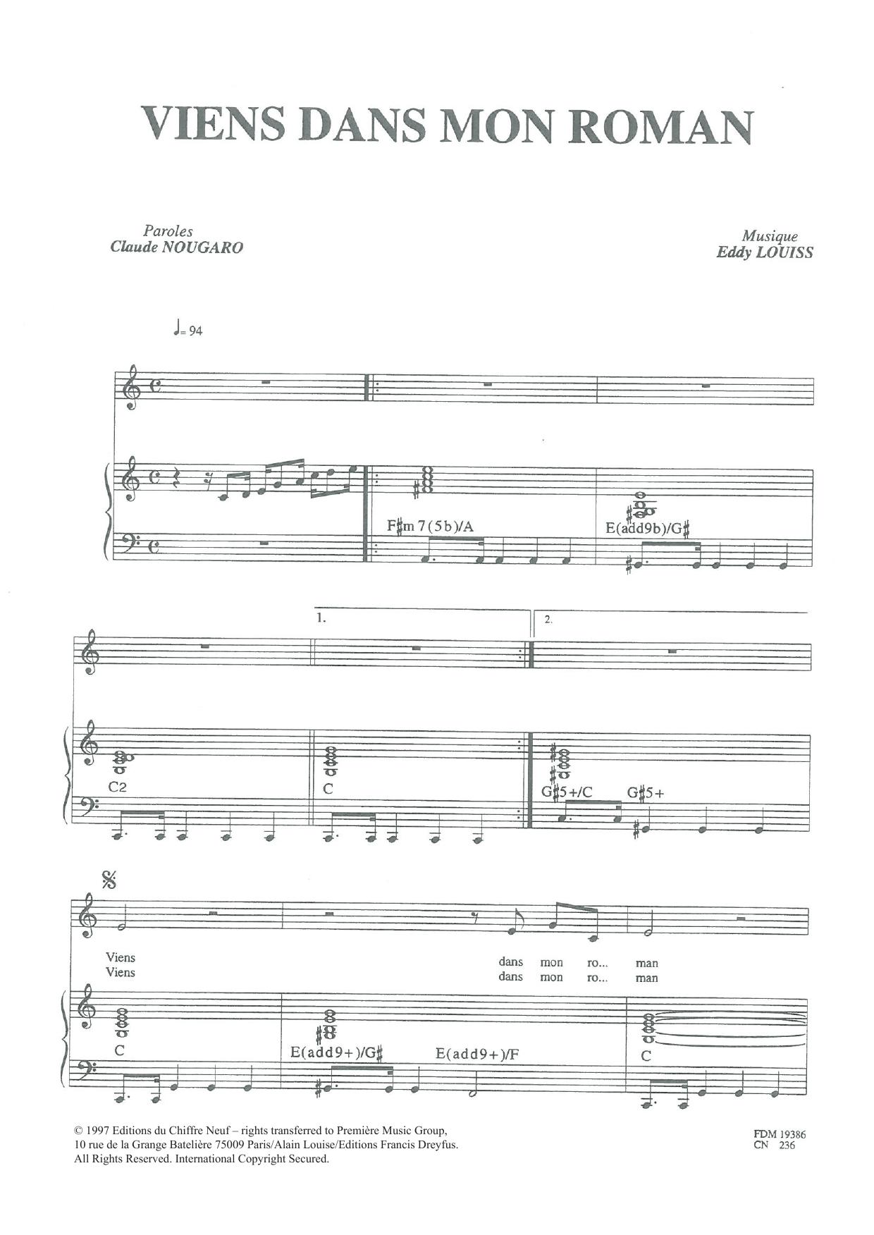 Viens Dans Mon Roman Sheet Music