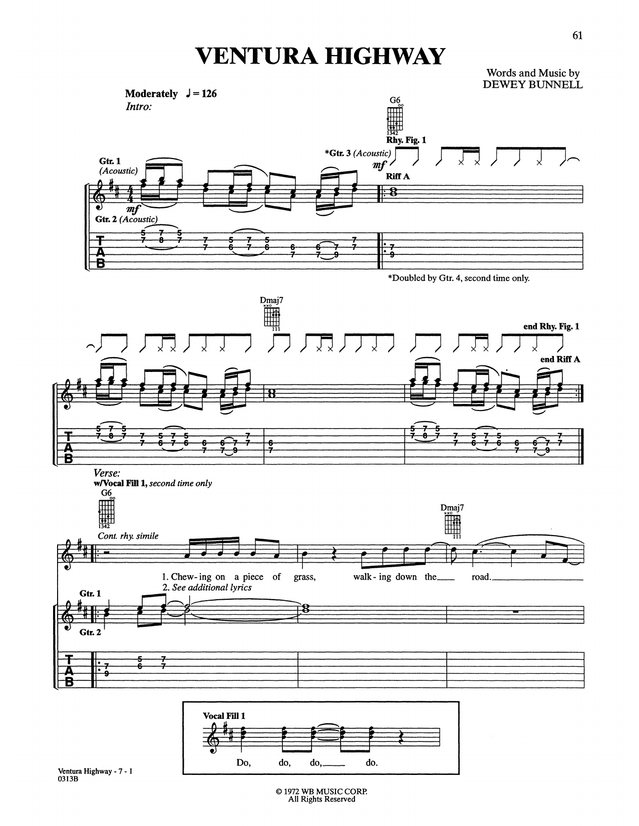 Ventura Highway Sheet Music