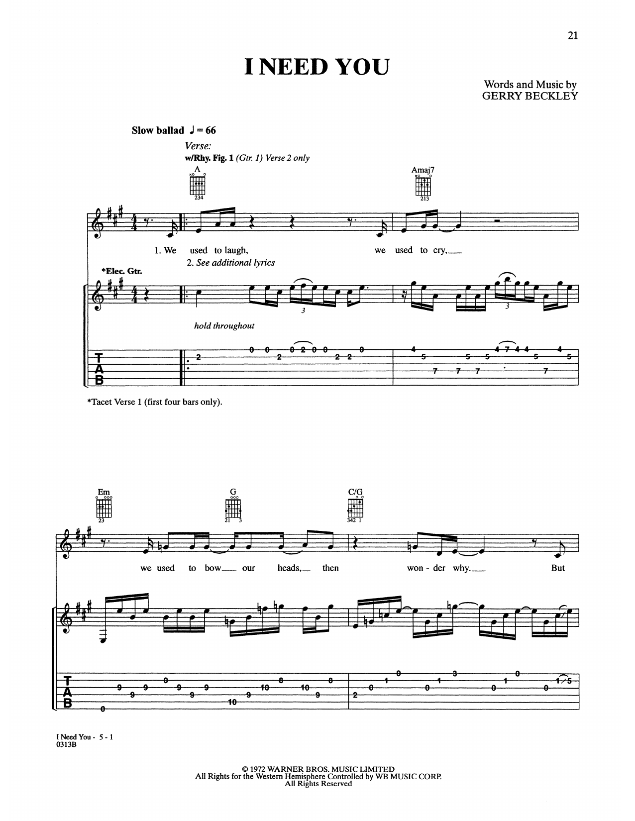 I Need You (Guitar Tab)